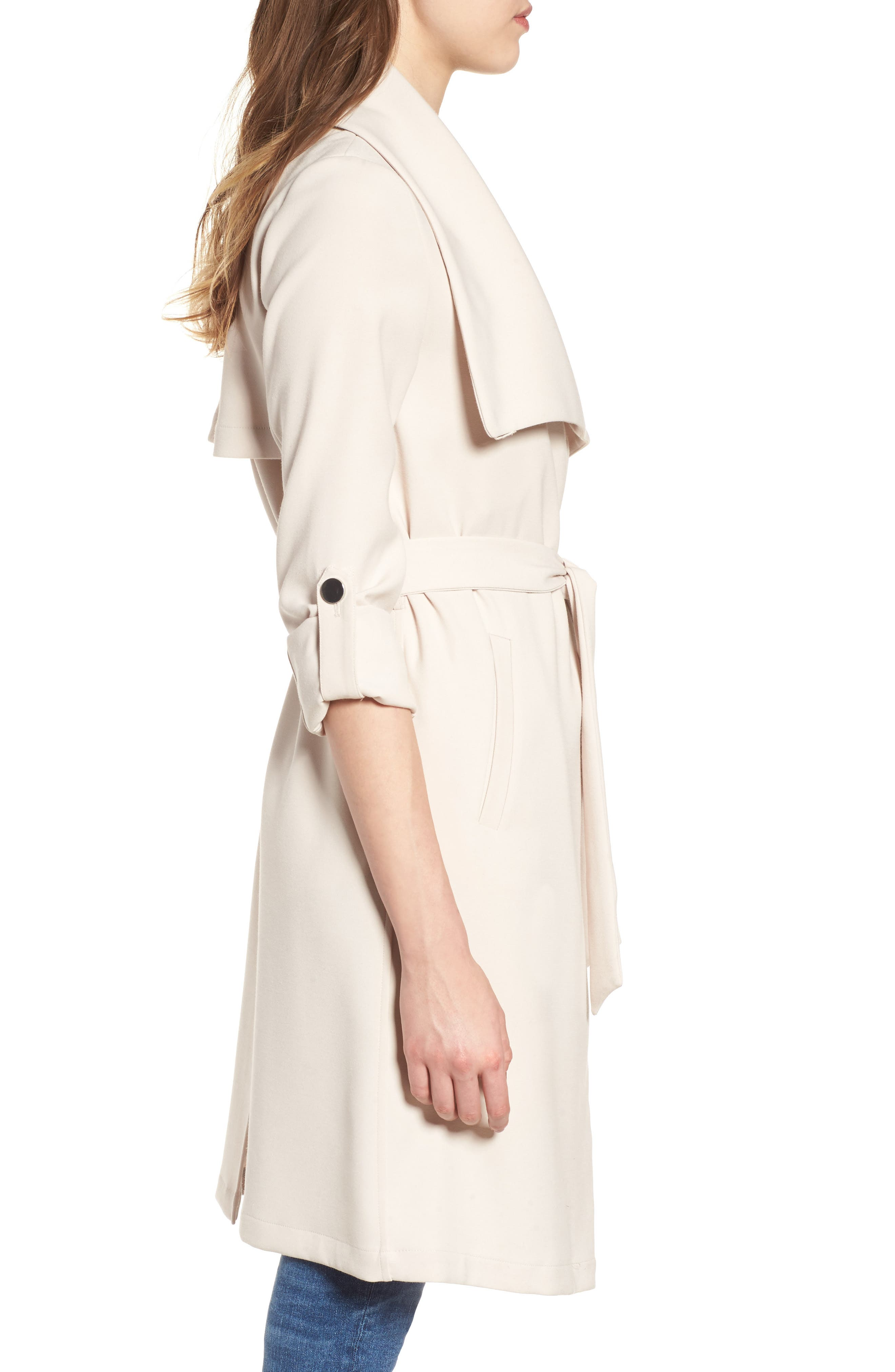 SOIA & KYO, Roll Sleeve Drape Front Long Trench Coat, Alternate thumbnail 3, color, 277