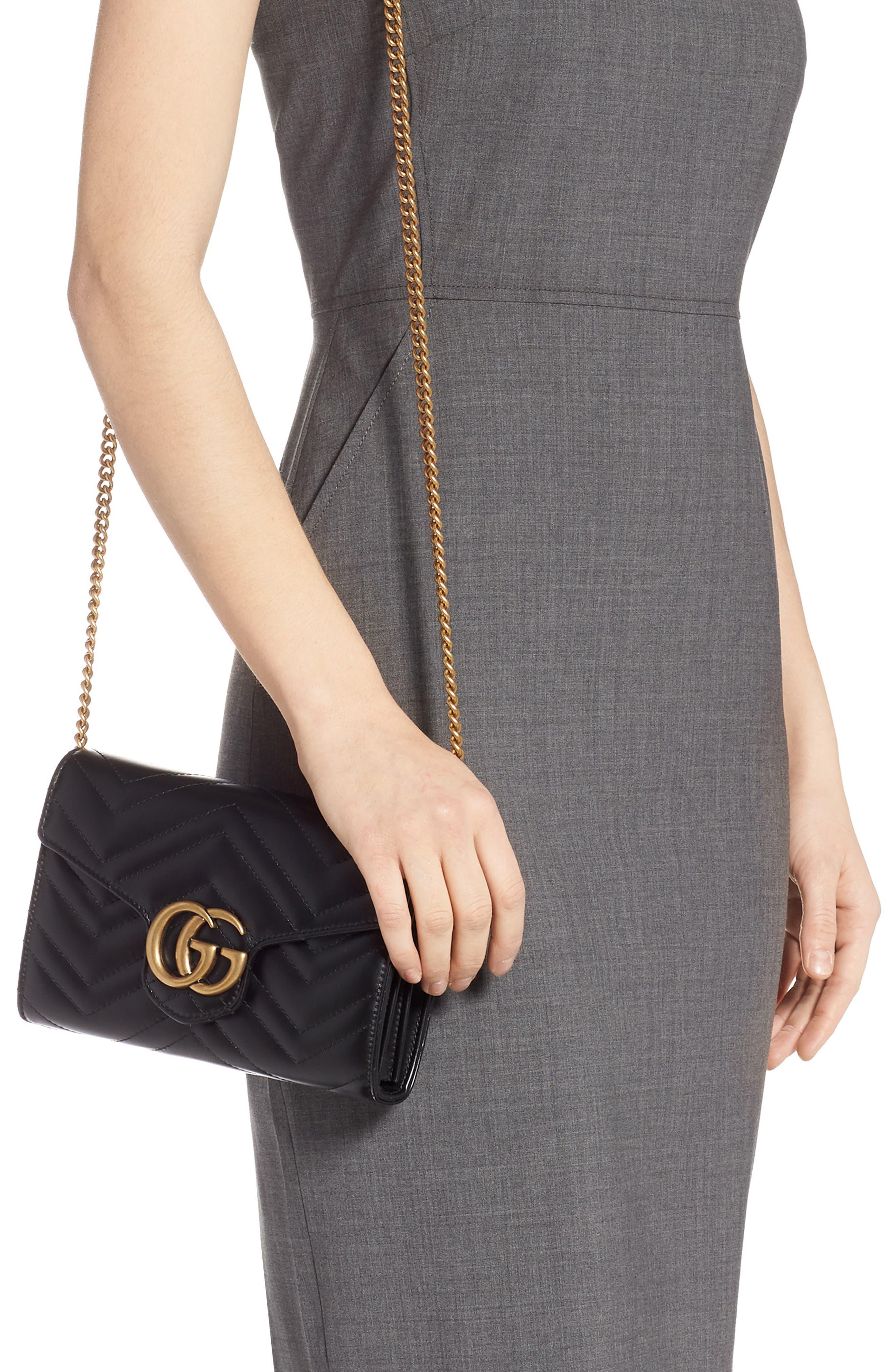 GUCCI, GG Marmont Matelassé Leather Wallet on a Chain, Alternate thumbnail 2, color, NERO