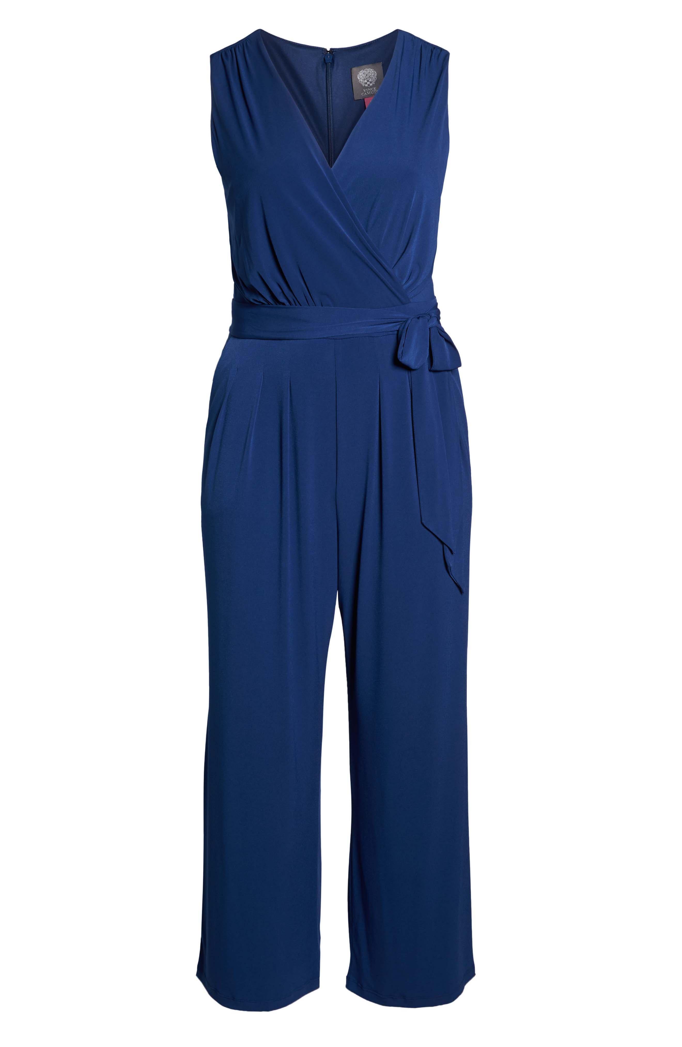 VINCE CAMUTO, Faux Wrap Wide Leg Jumpsuit, Alternate thumbnail 7, color, BLUE