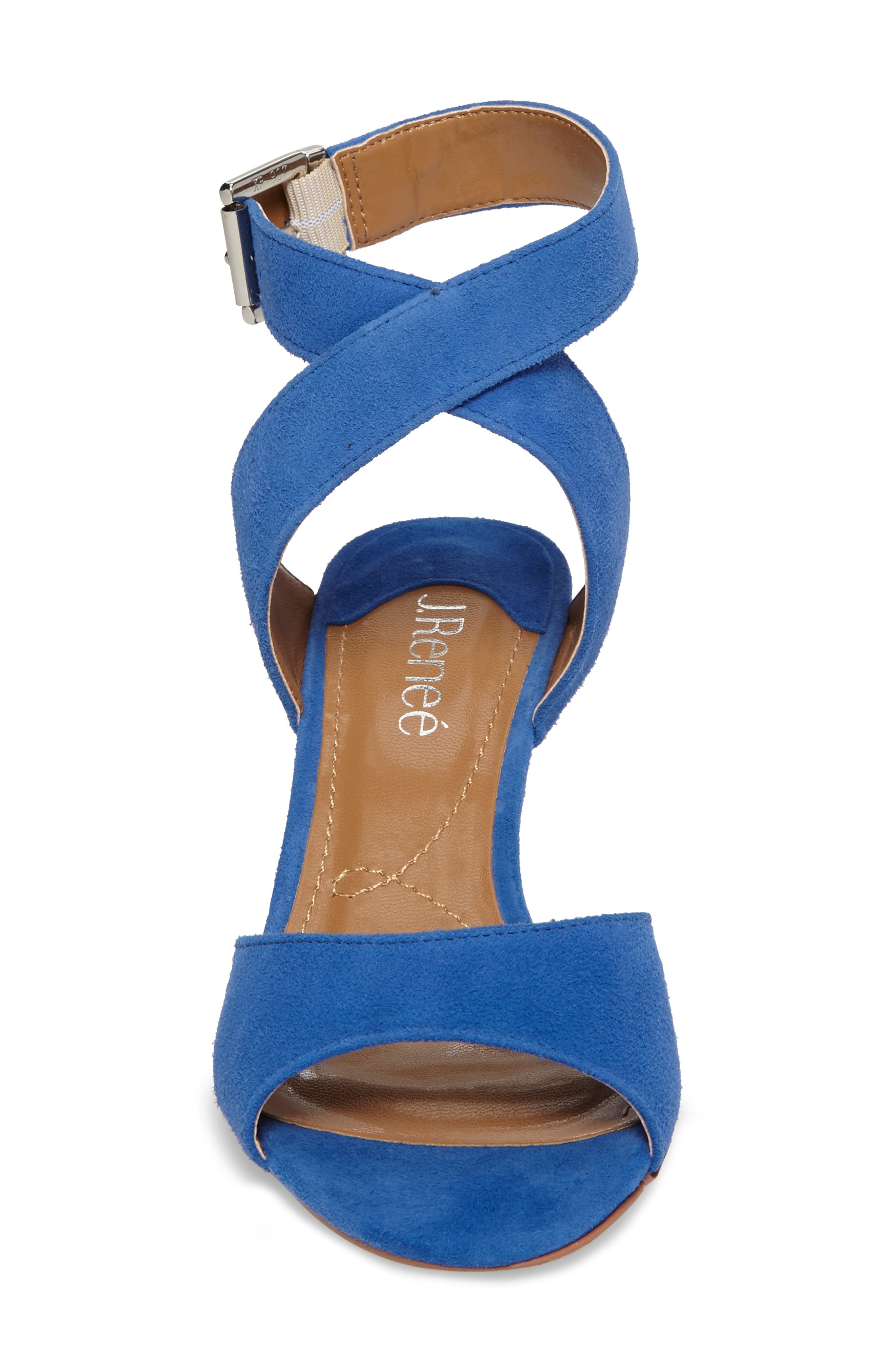 J. RENEÉ, 'Soncino' Ankle Strap Sandal, Alternate thumbnail 4, color, BLUE FABRIC
