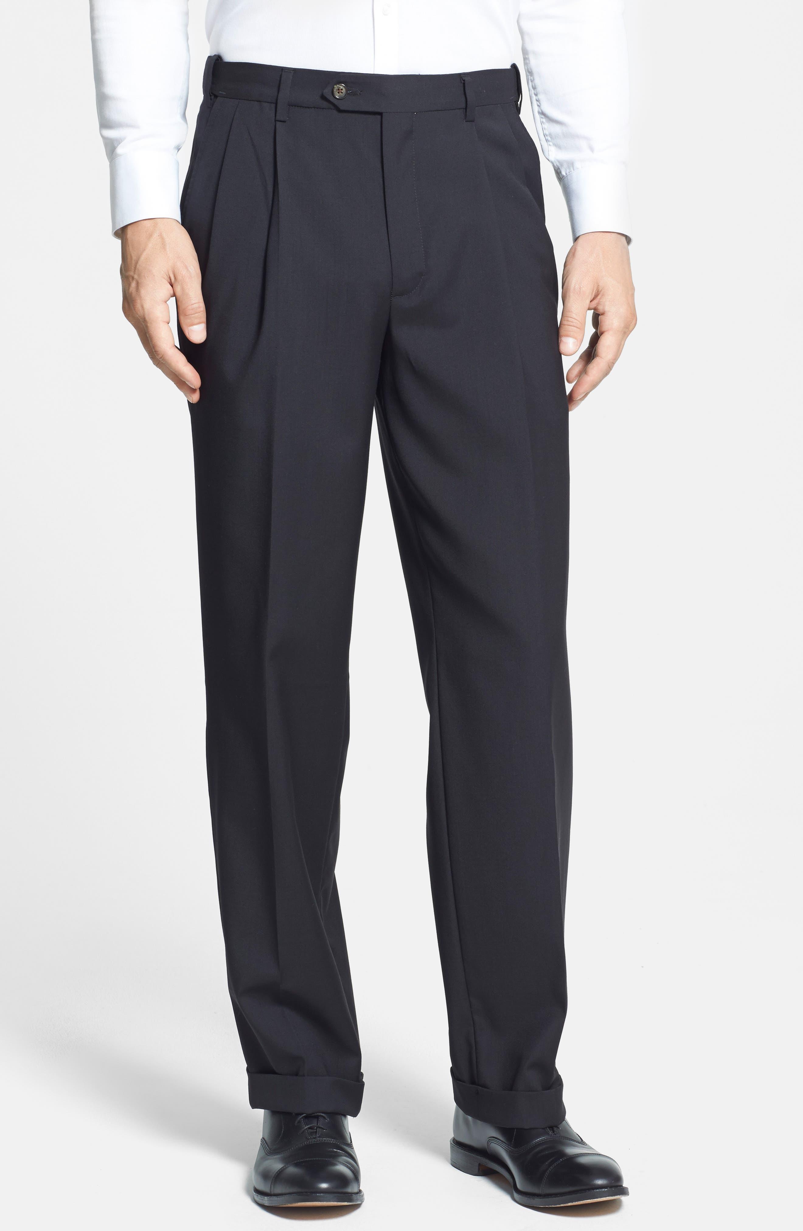 BERLE, Self Sizer Waist Pleated Trousers, Alternate thumbnail 5, color, BLACK