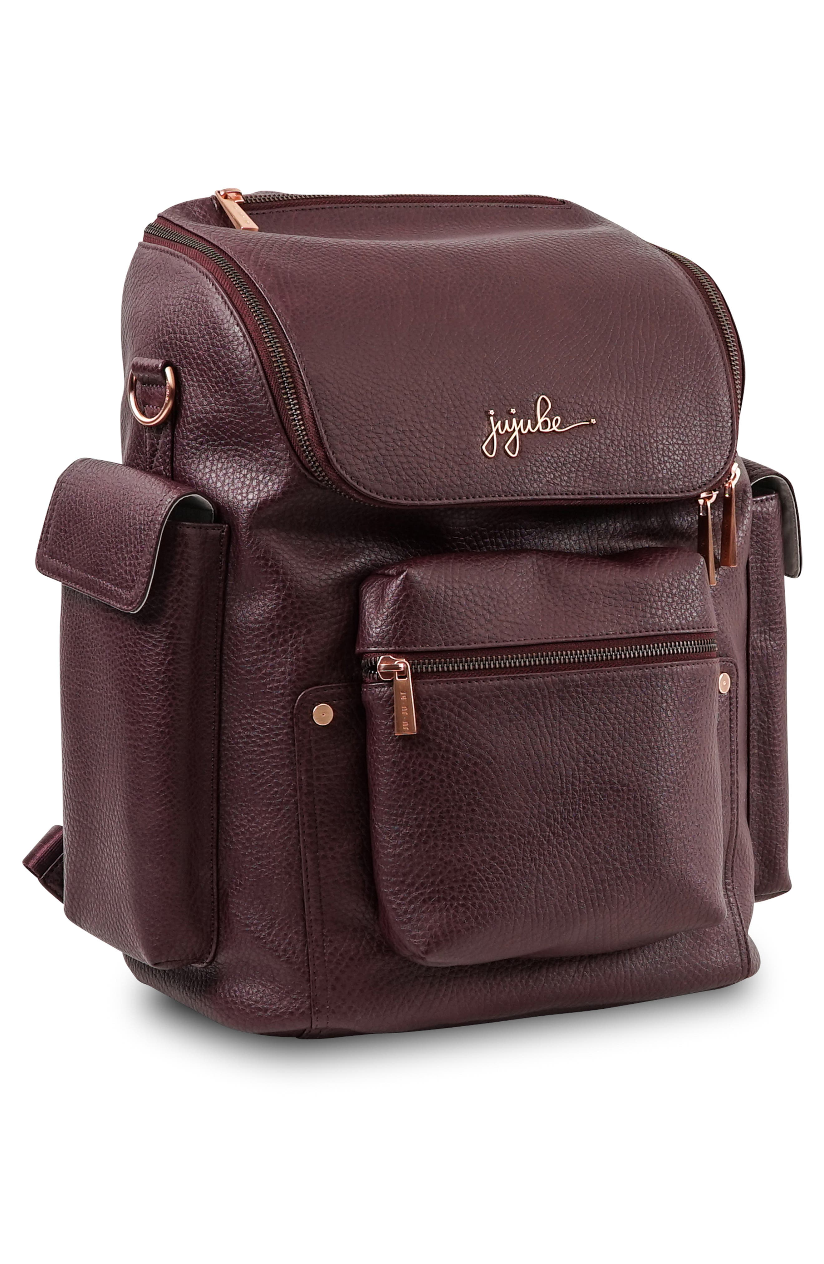 JU-JU-BE, Ever Collection Forever Faux Leather Diaper Backpack, Alternate thumbnail 6, color, PLUM