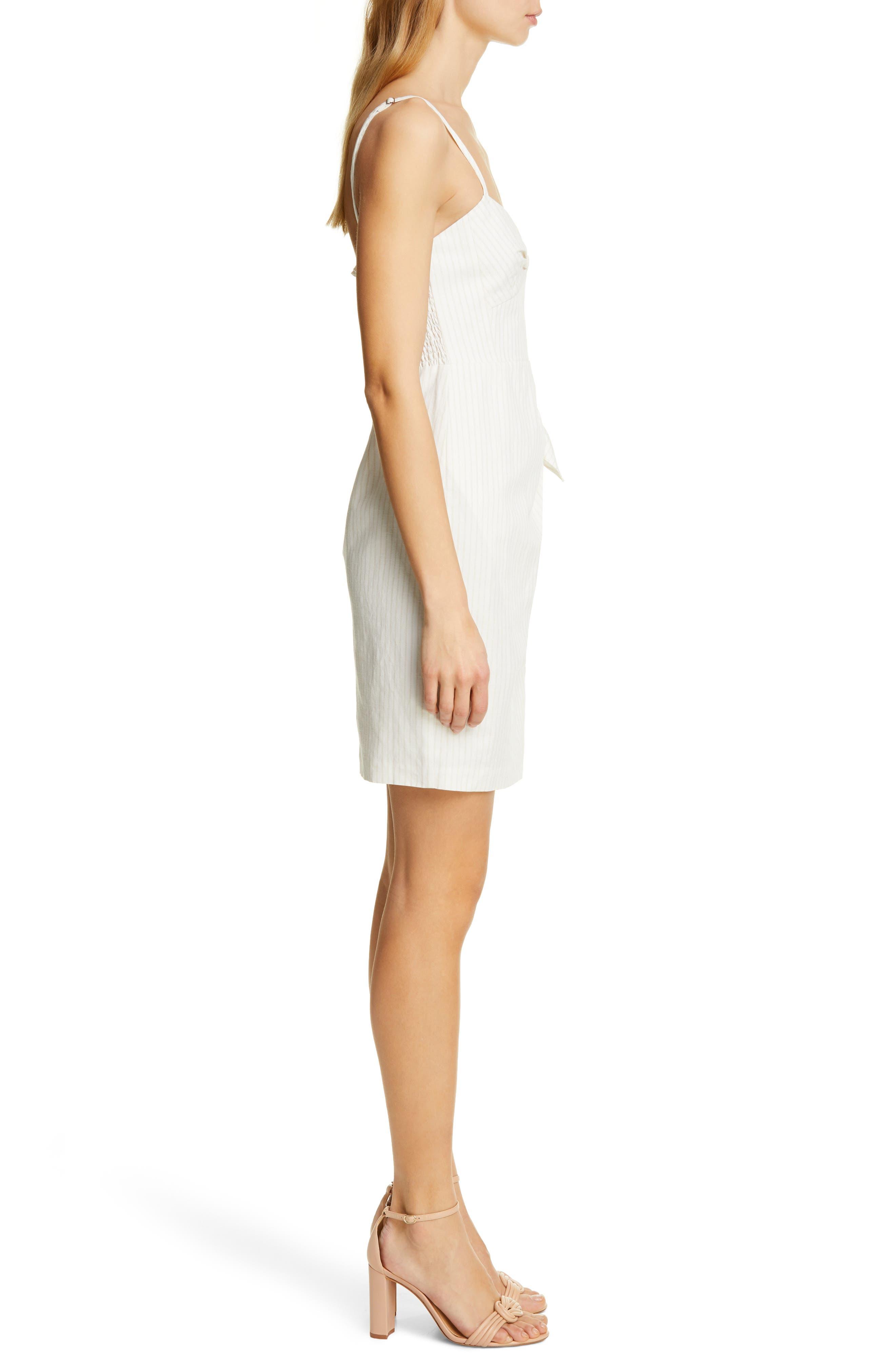 REBECCA TAYLOR, Pinstripe Cotton & Linen Dress, Alternate thumbnail 3, color, SNOW COMBO