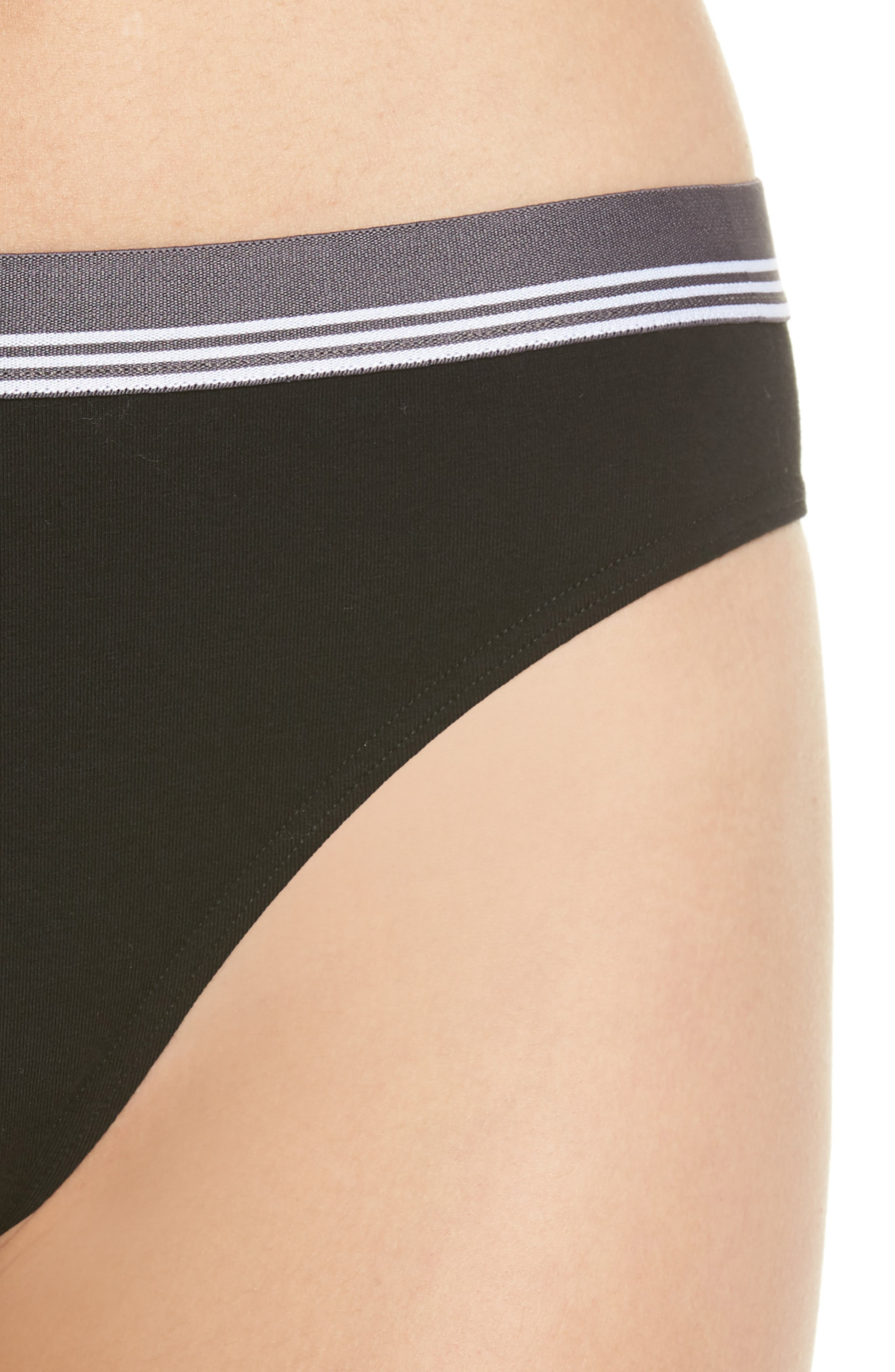 MAKE + MODEL, Sporty High Cut Briefs, Alternate thumbnail 4, color, BLACK