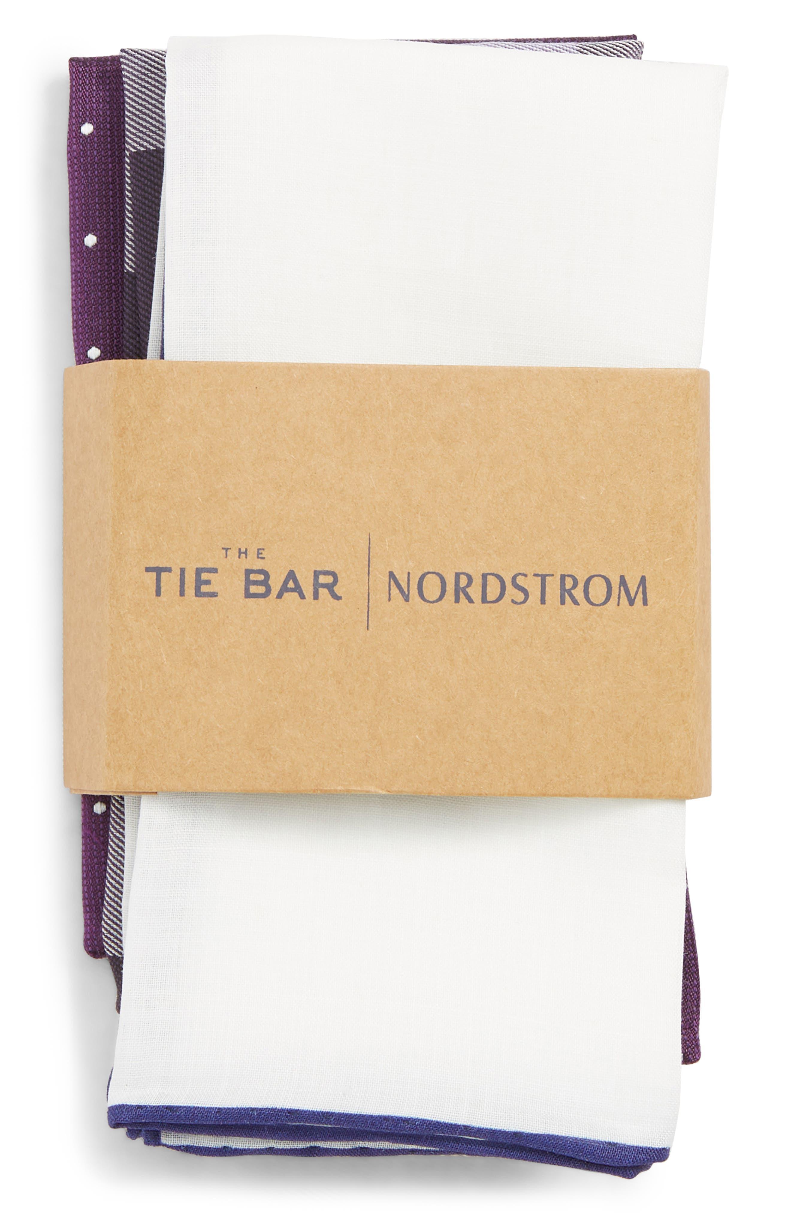 THE TIE BAR, 3-Pack Pocket Squares, Alternate thumbnail 2, color, EGGPLANT