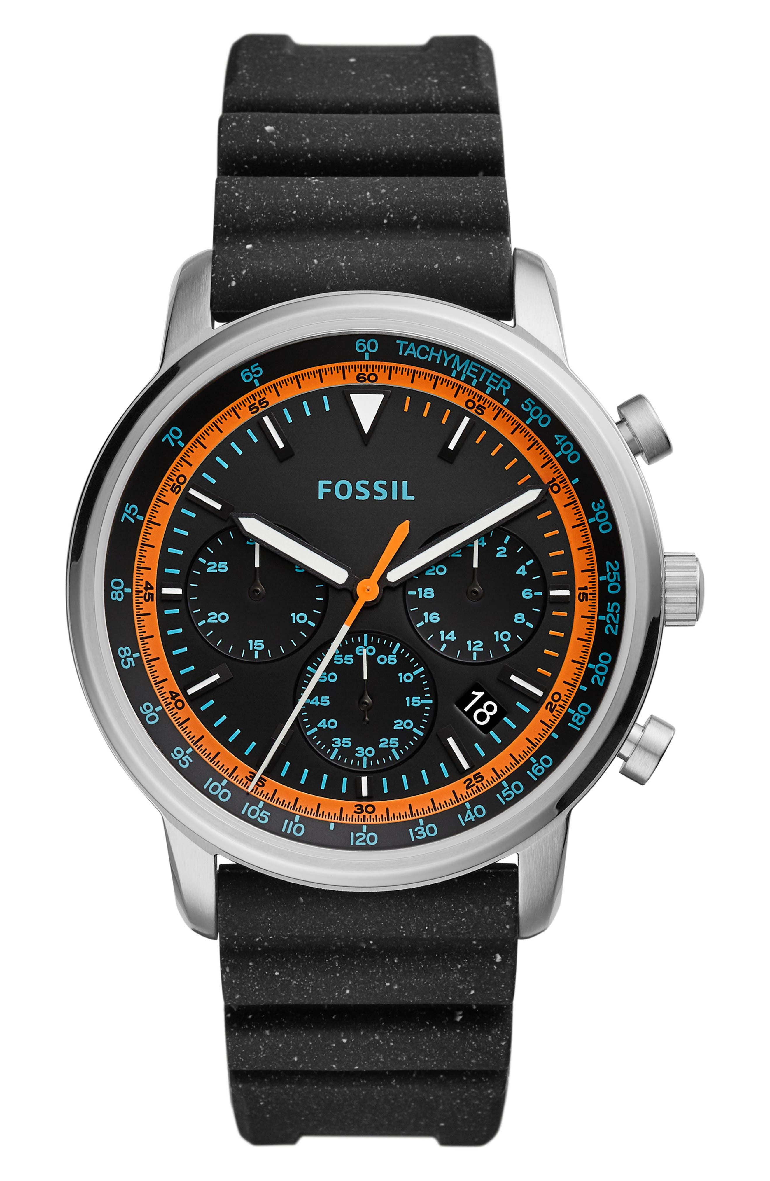 FOSSIL, Goodwin Chronometer Silicone Strap Watch, 44mm, Main thumbnail 1, color, 001