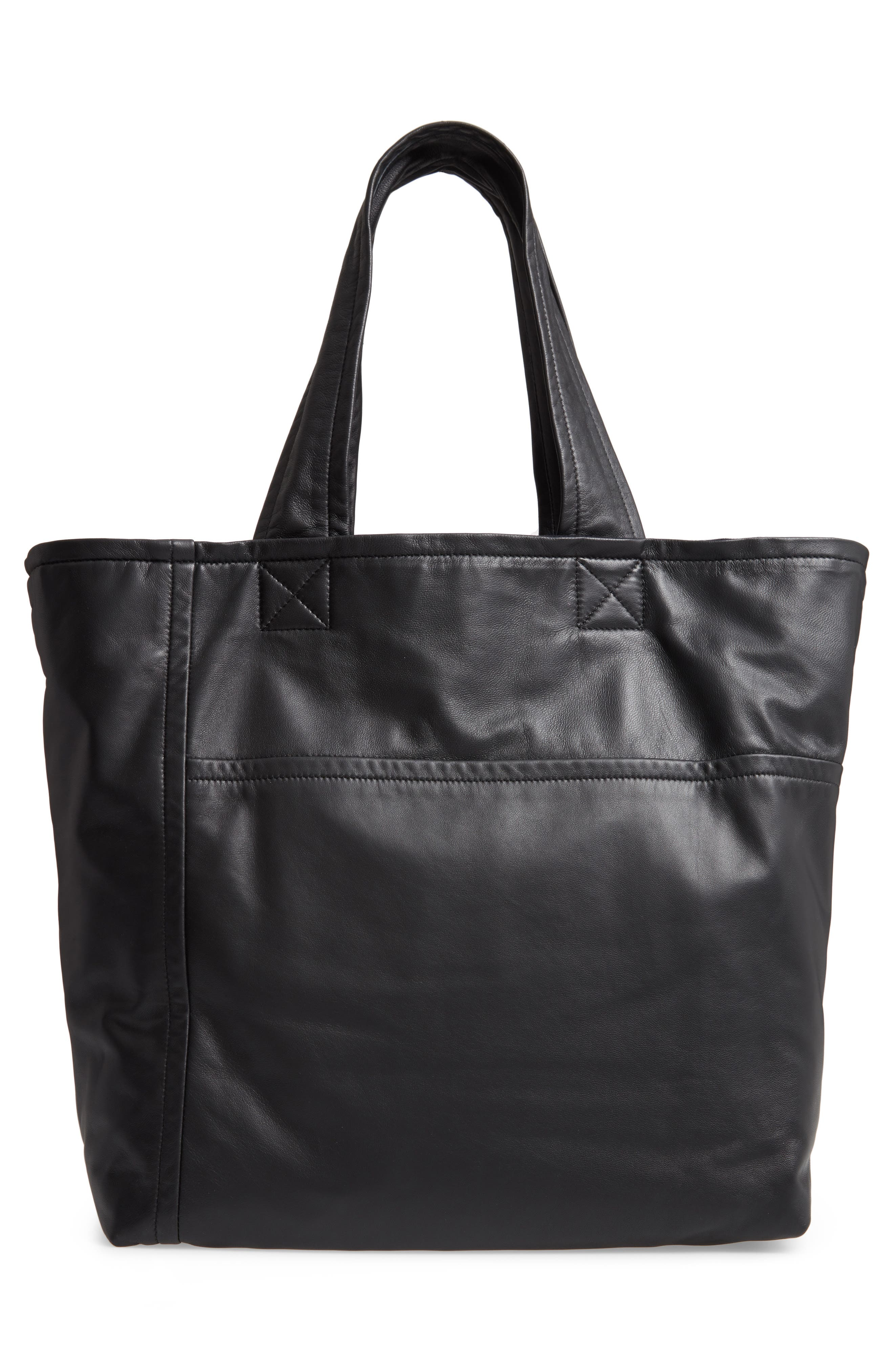 VICTORIA BECKHAM, Sunday Leather Tote Bag, Alternate thumbnail 3, color, 001