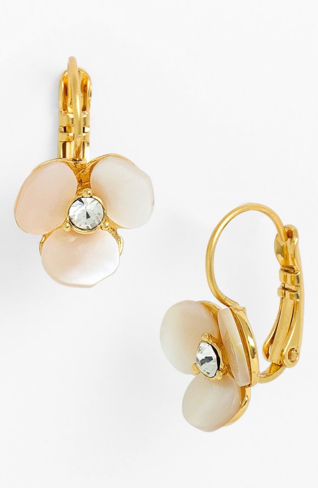 KATE SPADE NEW YORK, 'disco pansy' drop earrings, Main thumbnail 1, color, CREAM/ CLEAR/ GOLD