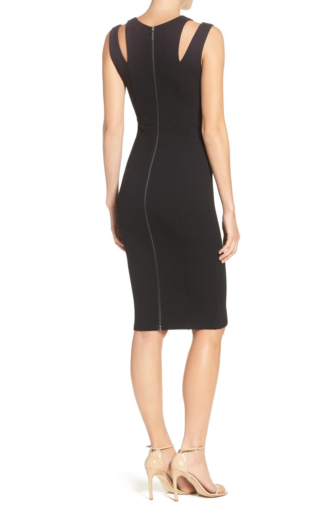 FELICITY & COCO, Shoulder Detail Ponte Sheath Dress, Alternate thumbnail 4, color, 001
