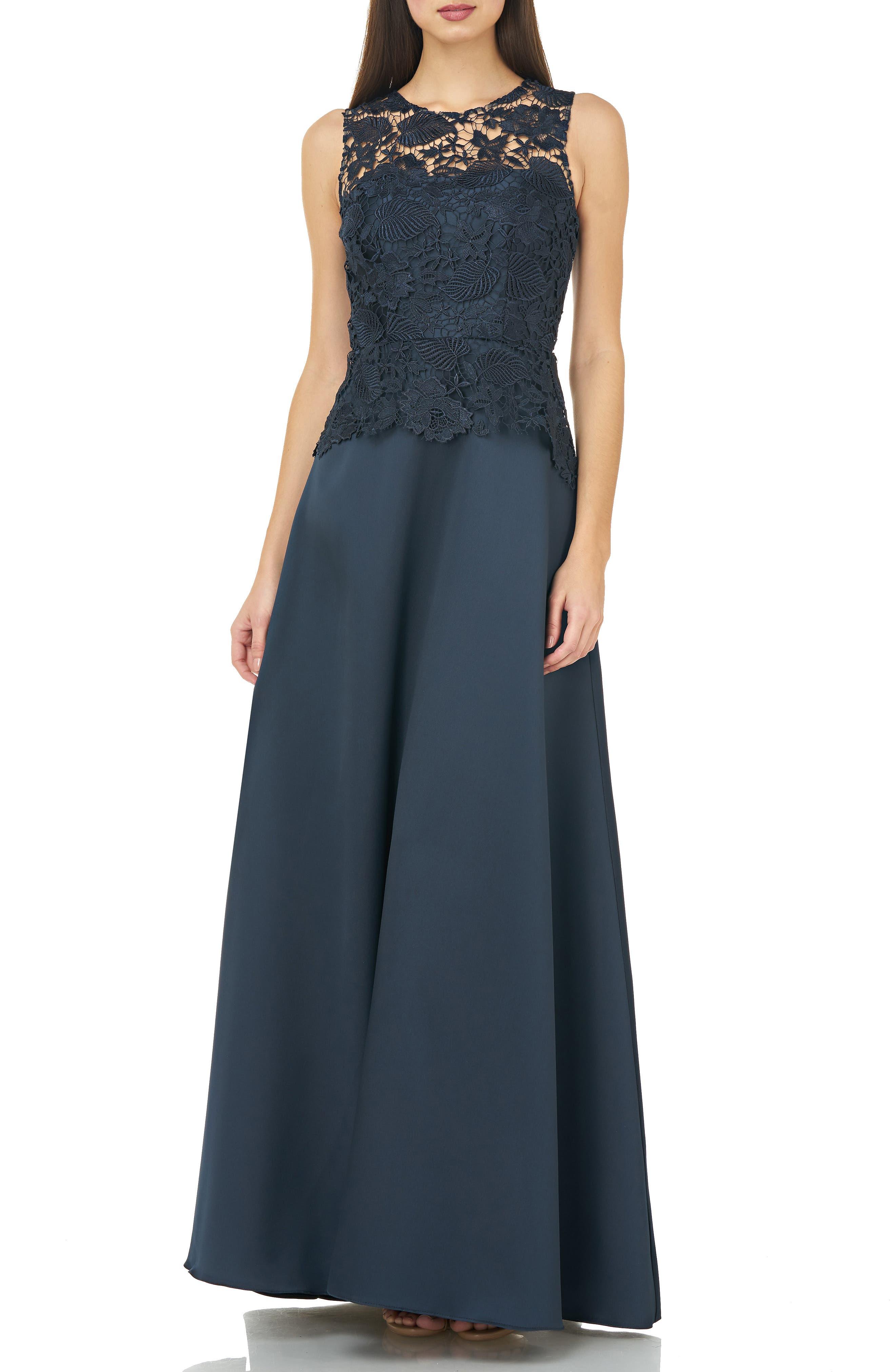 Carmen Marc Valvo Infusion Lace Bodice Evening Dress, Blue