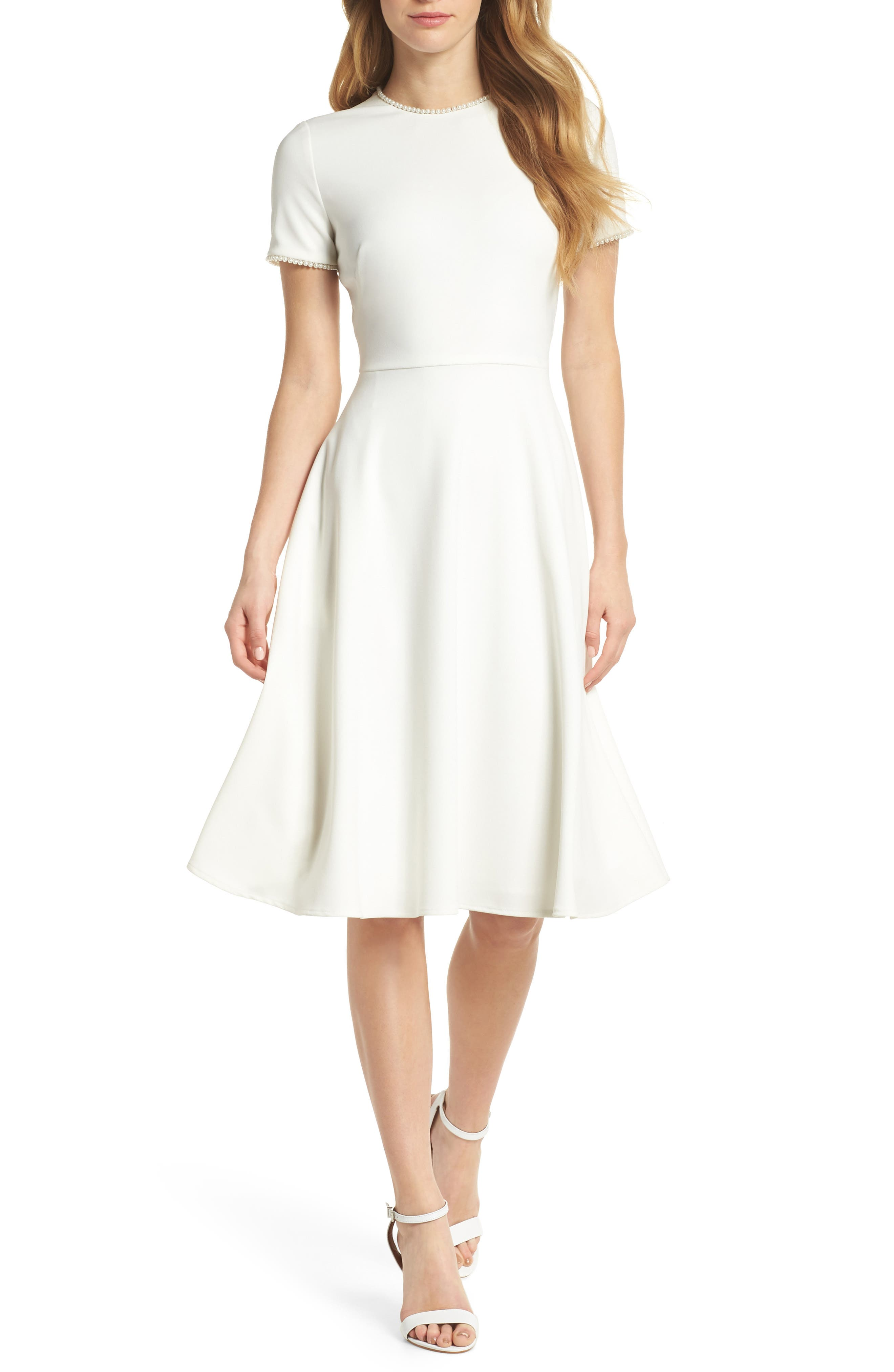 GAL MEETS GLAM COLLECTION Victoria Pearly Trim Fit & Flare Dress, Main, color, CREME