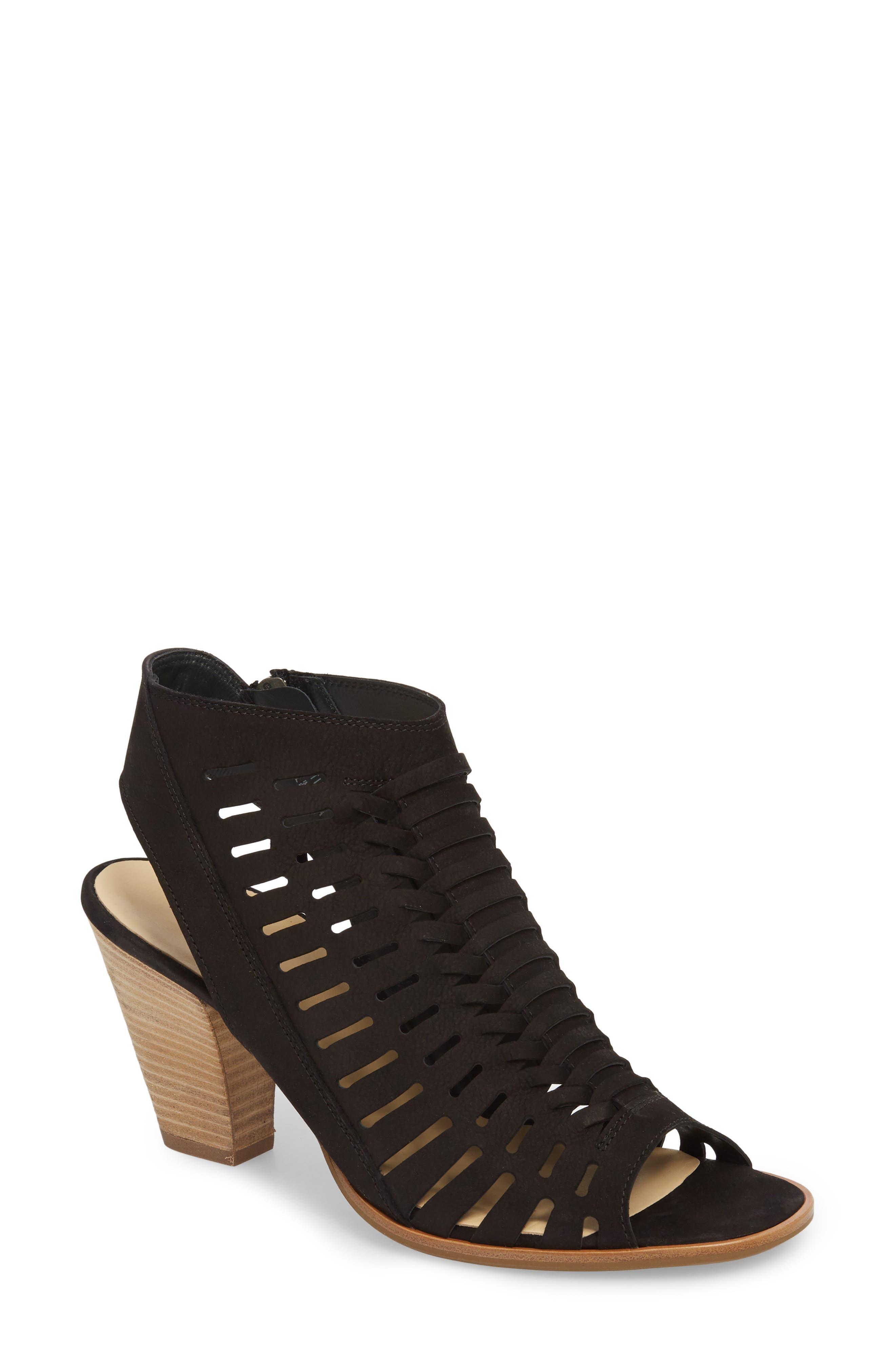 PAUL GREEN, Rosa Woven Peep Toe Sandal, Main thumbnail 1, color, BLACK NUBUCK