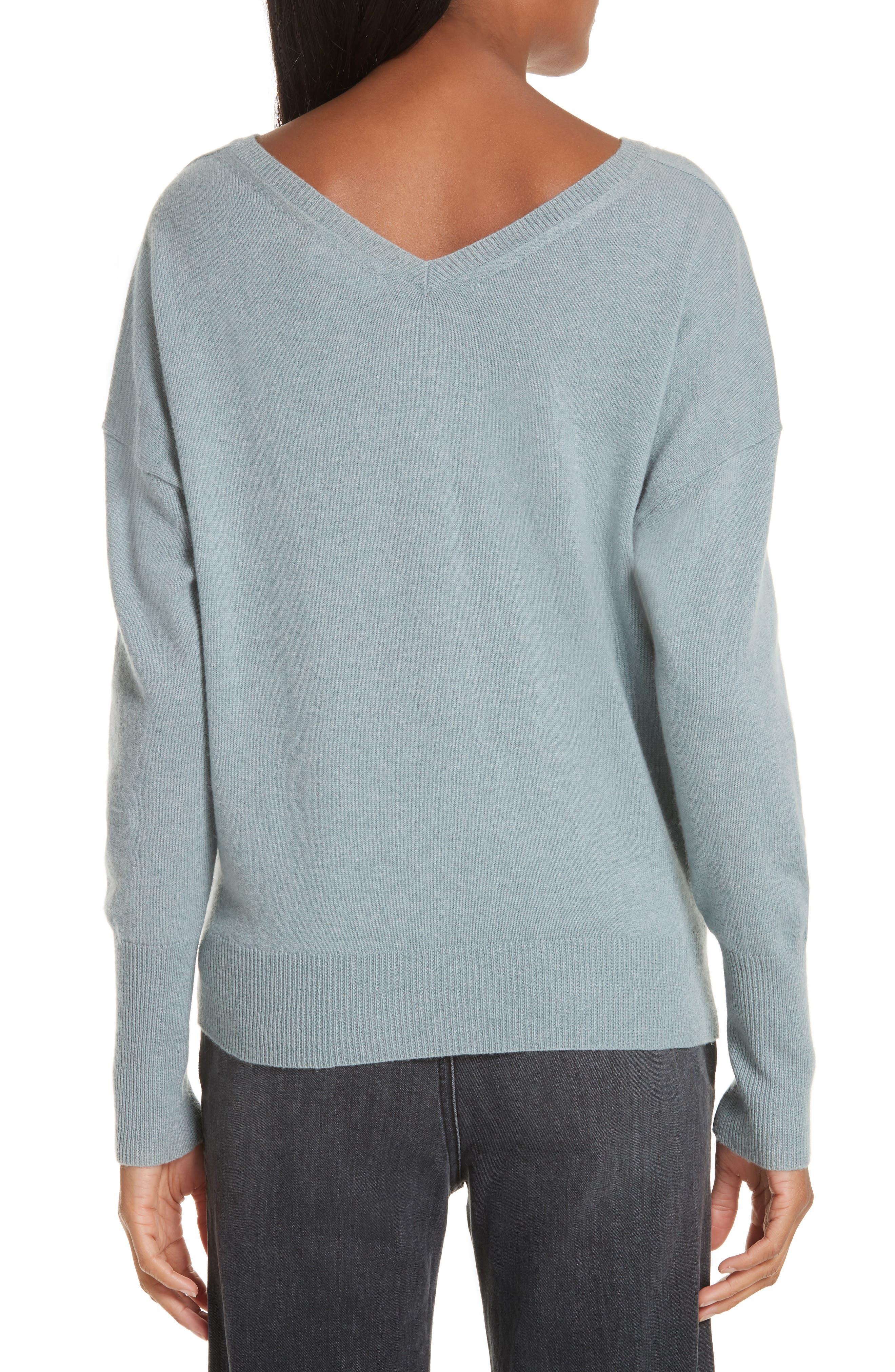 NILI LOTAN, Kylan Cashmere Sweater, Alternate thumbnail 2, color, SKY BLUE