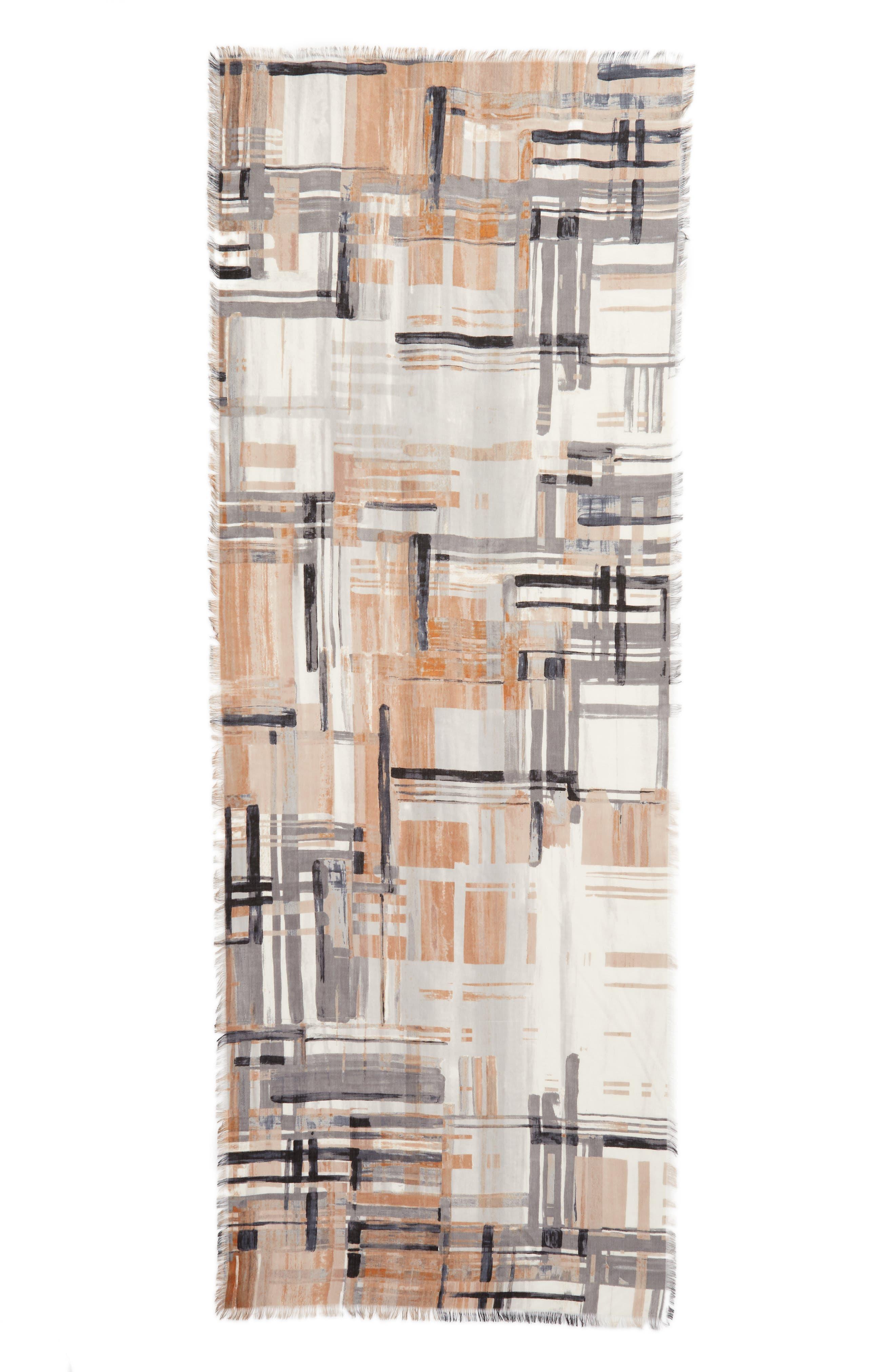 NORDSTROM, Eyelash Trim Print Cashmere & Silk Wrap, Alternate thumbnail 3, color, 001