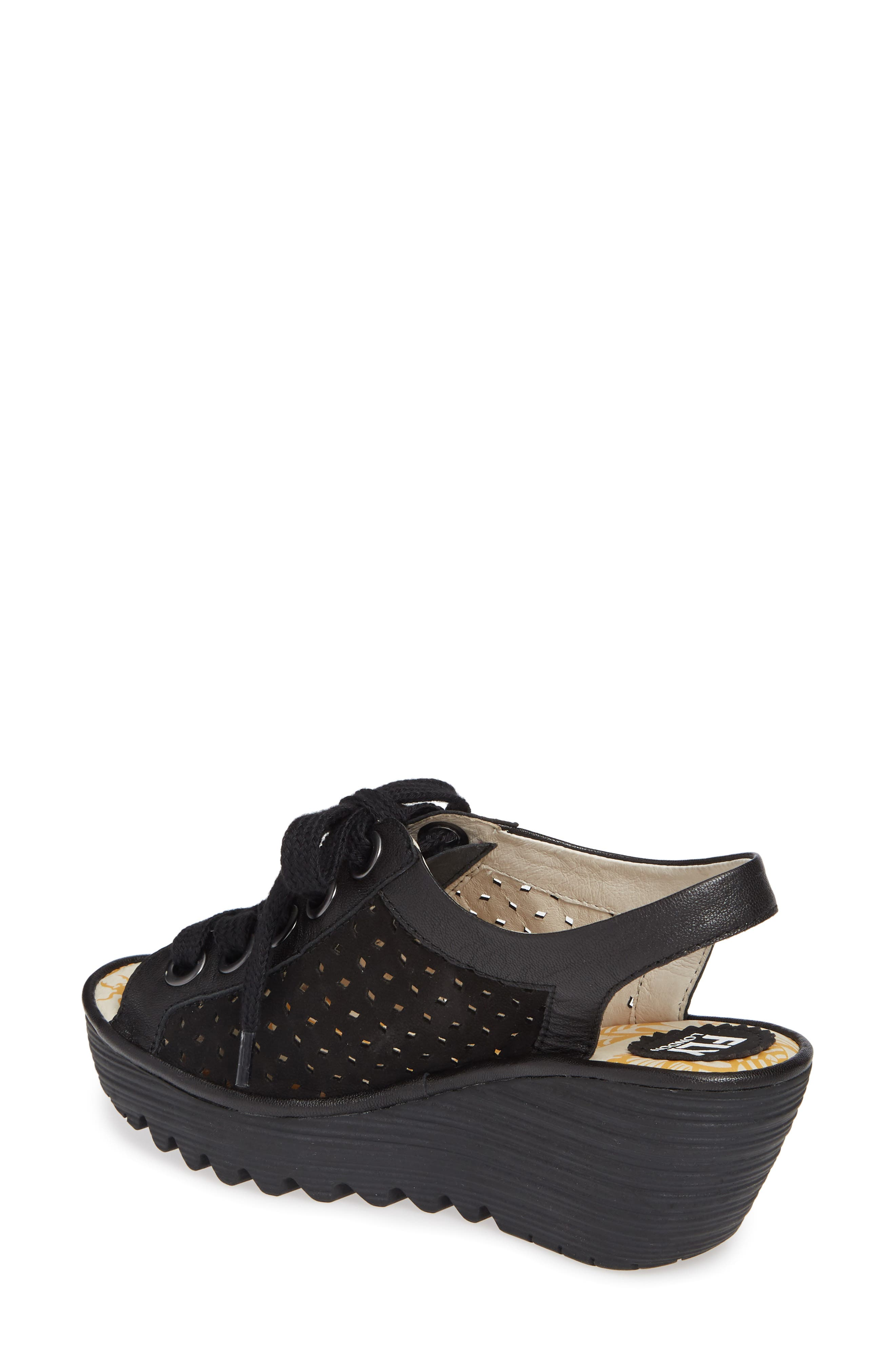 FLY LONDON, Yorl Wedge Sandal, Alternate thumbnail 2, color, BLACK LEATHER