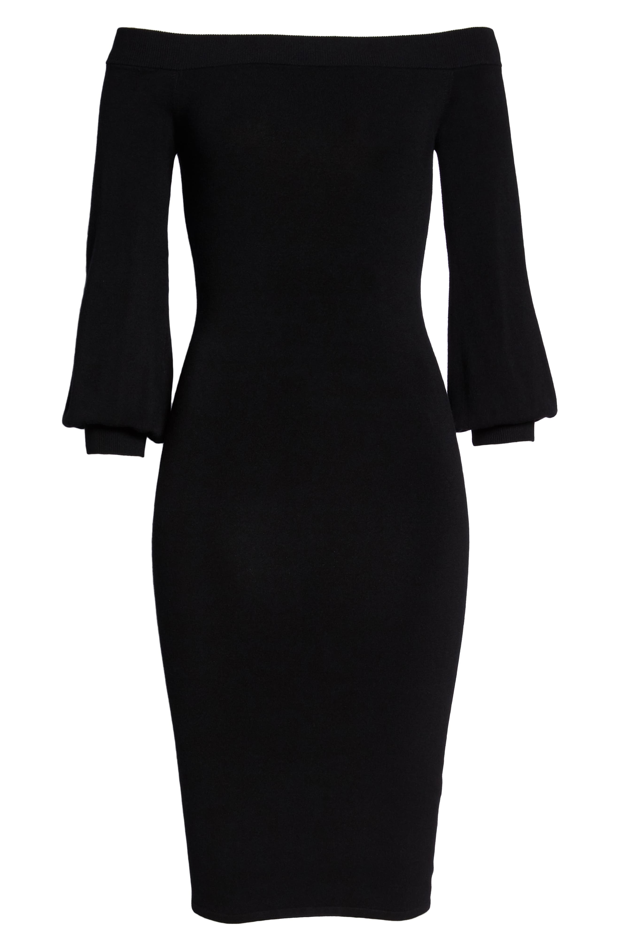 ALI & JAY, Standing Strong Off the Shoulder Midi Sweater Dress, Alternate thumbnail 7, color, 001