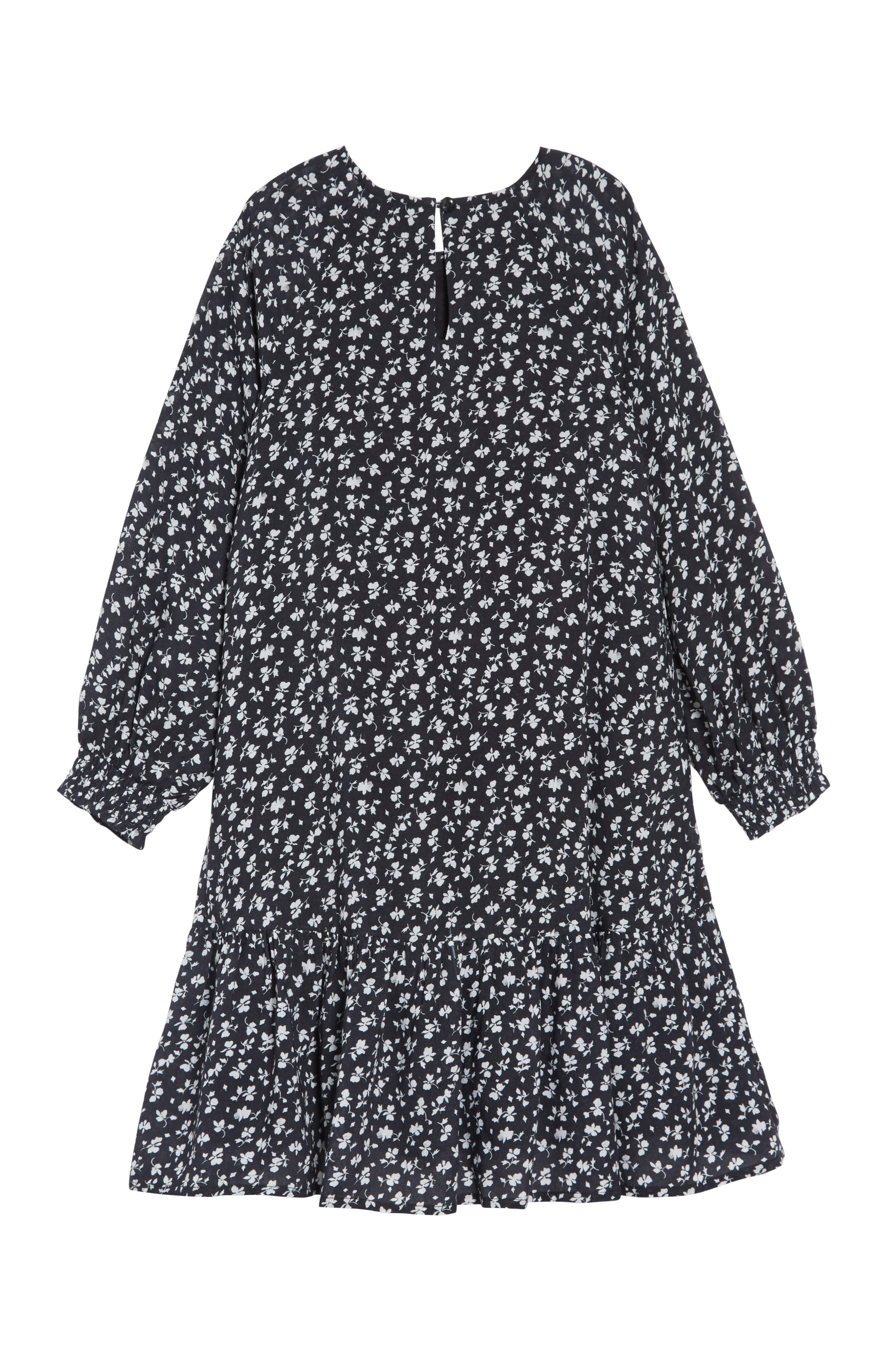 SOMETHING NAVY, Ruffle High/Low Dress, Alternate thumbnail 3, color, BLACK VINTAGE FLORAL