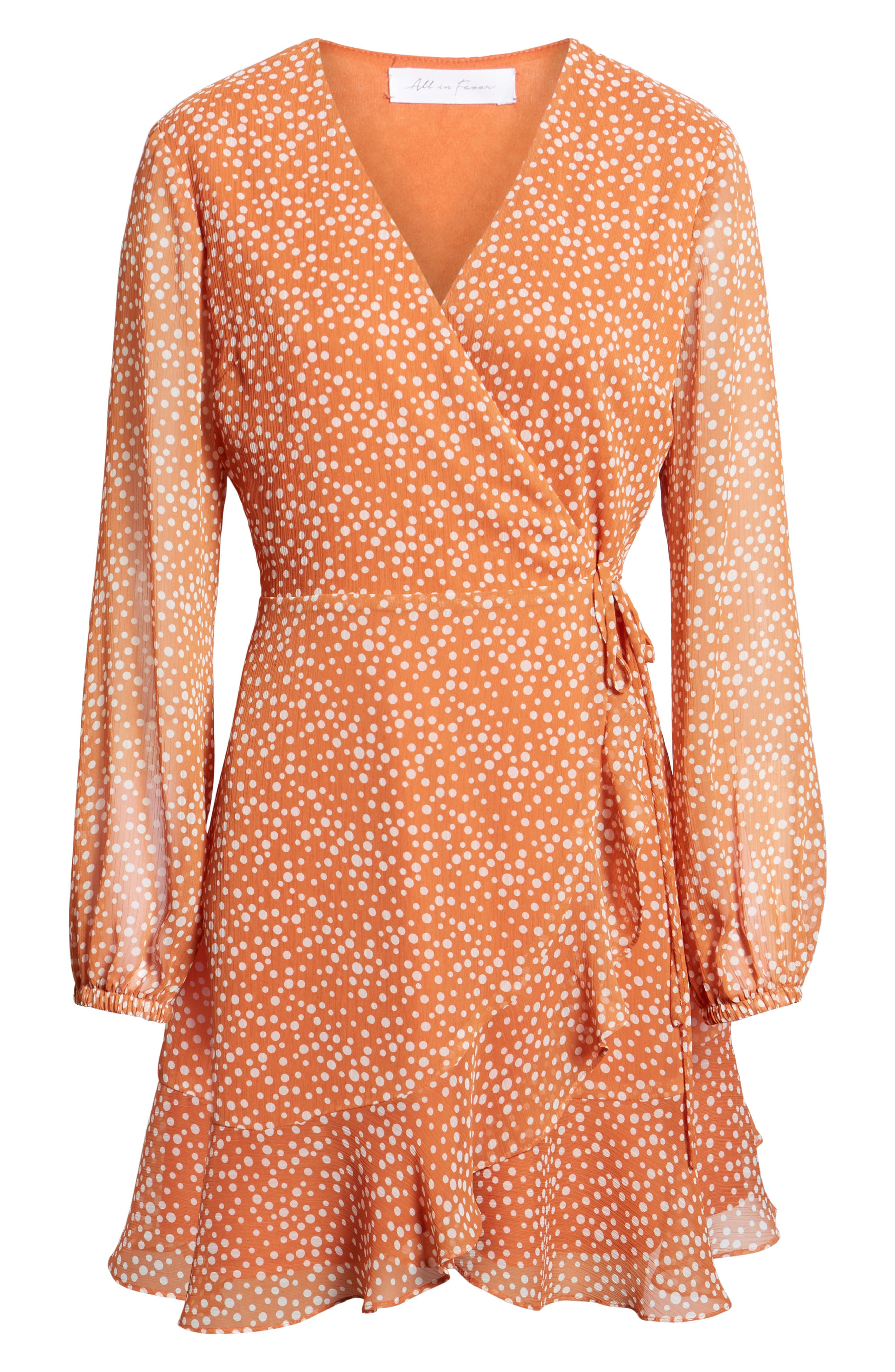 ALL IN FAVOR, Brittany Wrap Minidress, Alternate thumbnail 7, color, RUST DOT