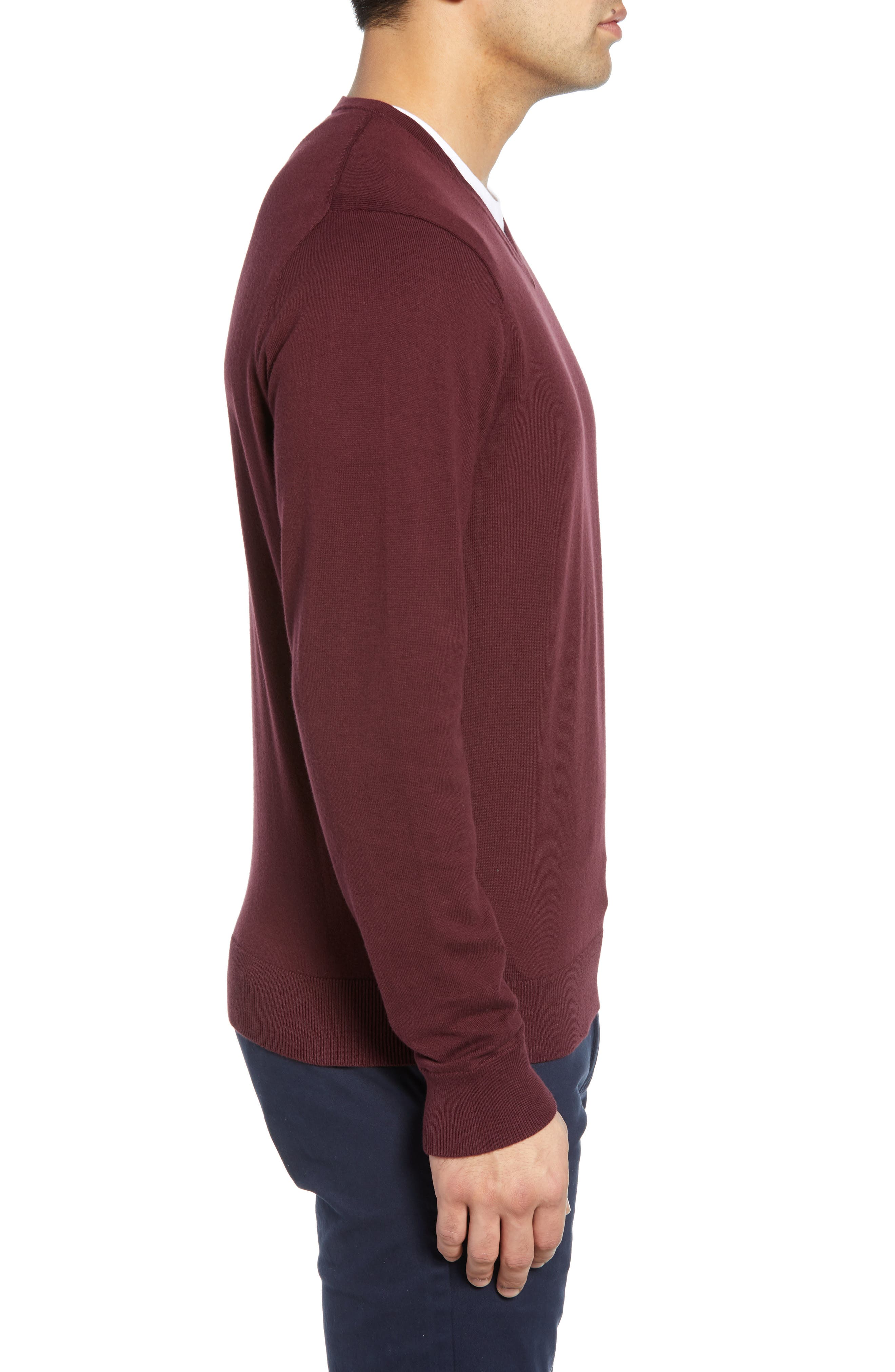 CUTTER & BUCK, Lakemont V-Neck Sweater, Alternate thumbnail 3, color, BORDEAUX