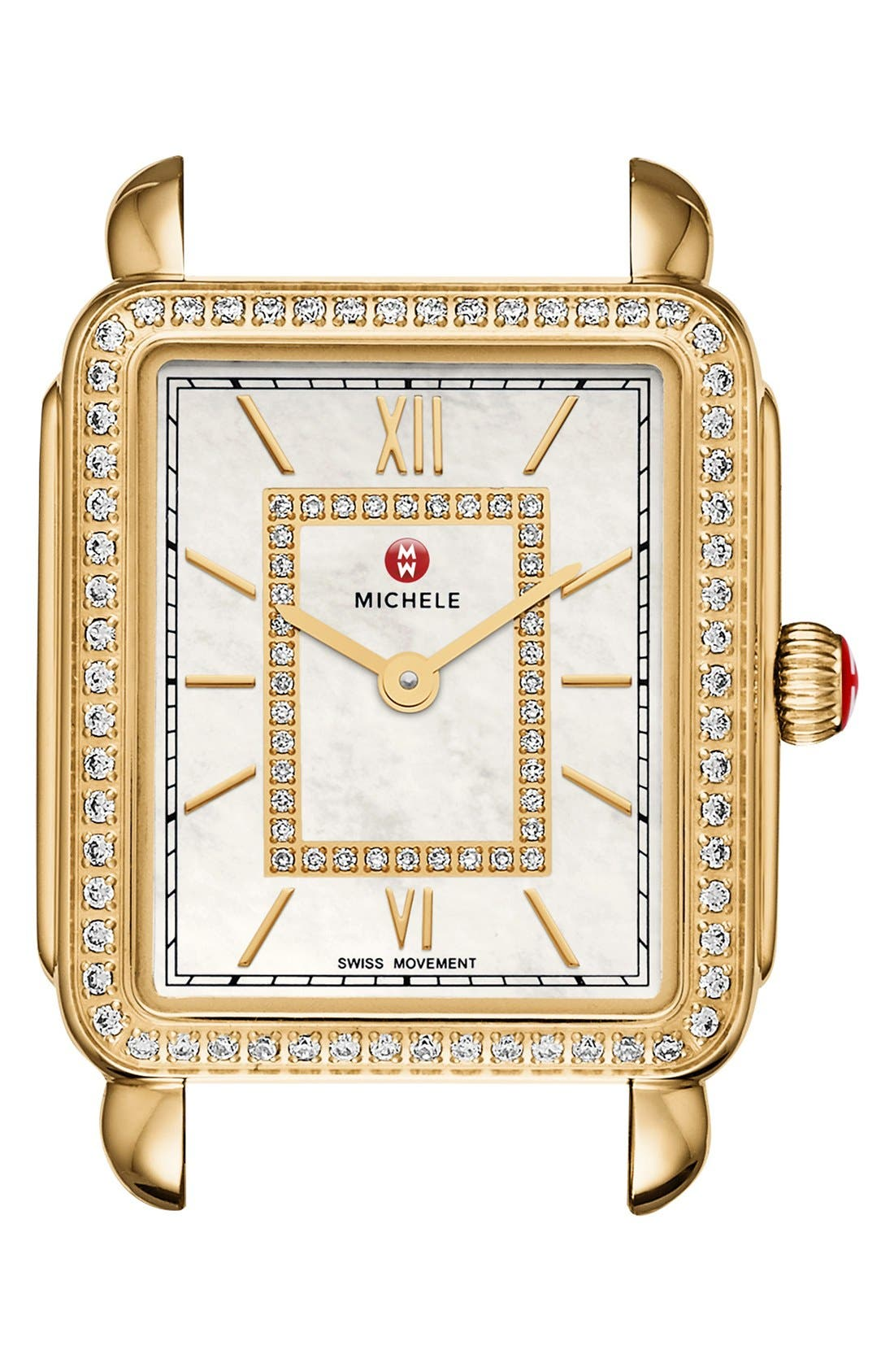 MICHELE Deco II Diamond Dial Watch Case, 26mm x 28mm, Main, color, GOLD