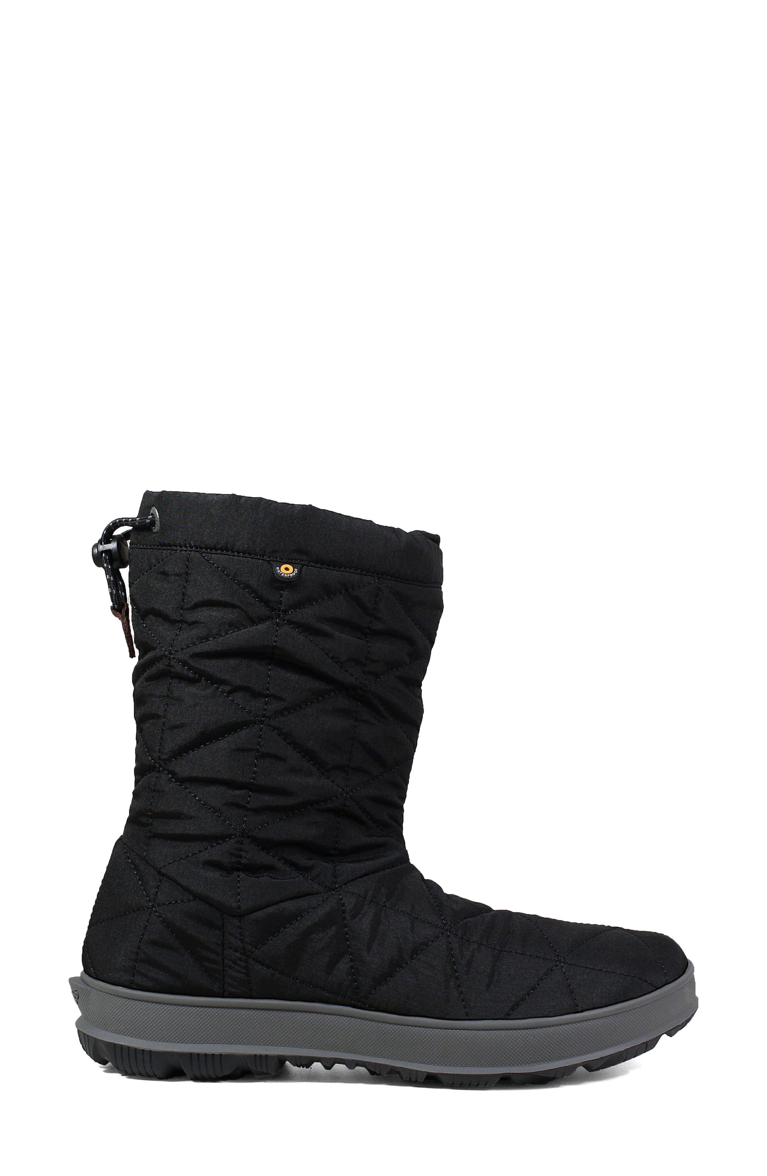 BOGS, Mid Snowday Waterproof Bootie, Alternate thumbnail 3, color, BLACK