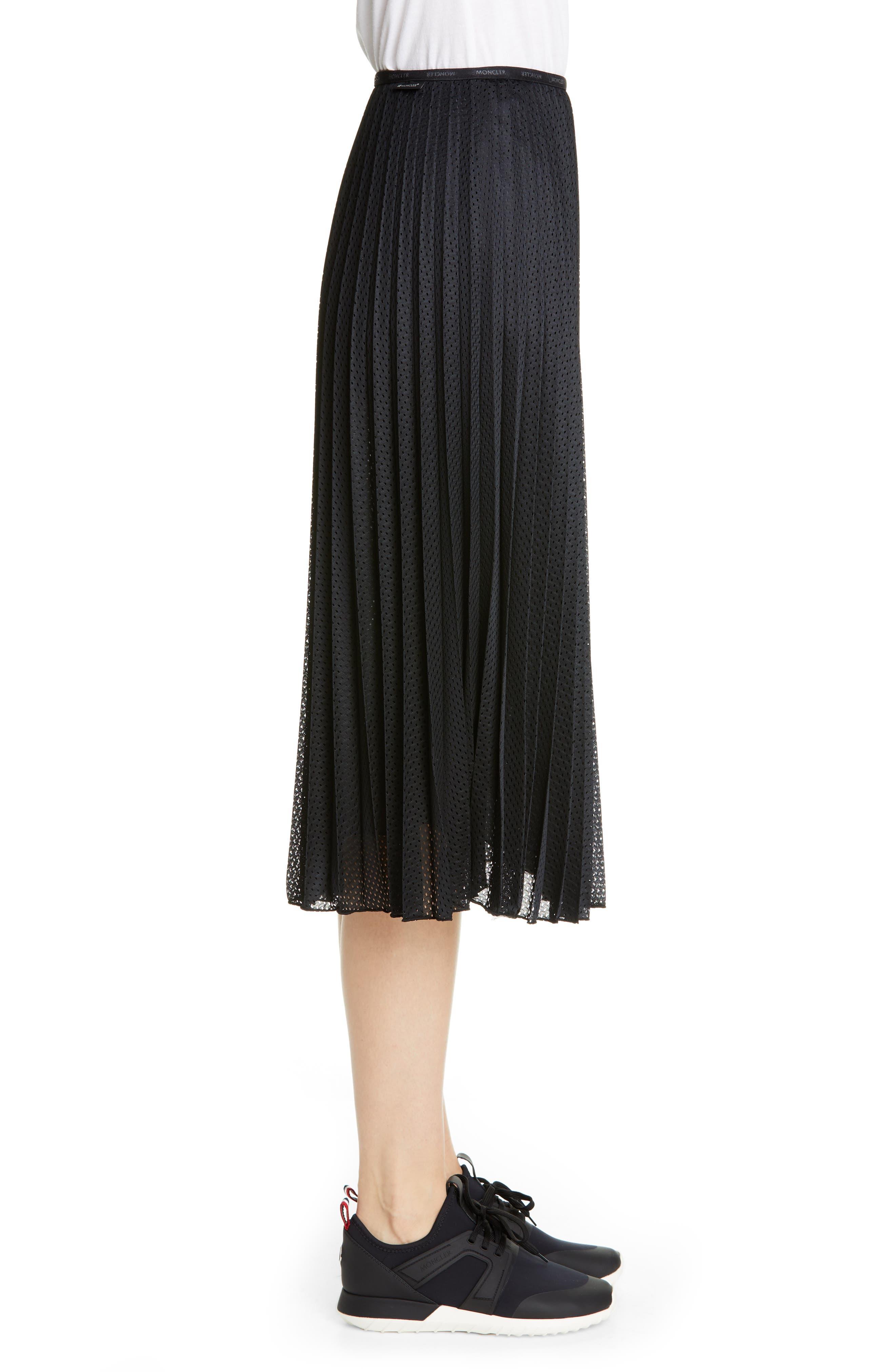MONCLER, Pleated Mesh Skirt, Alternate thumbnail 3, color, 001