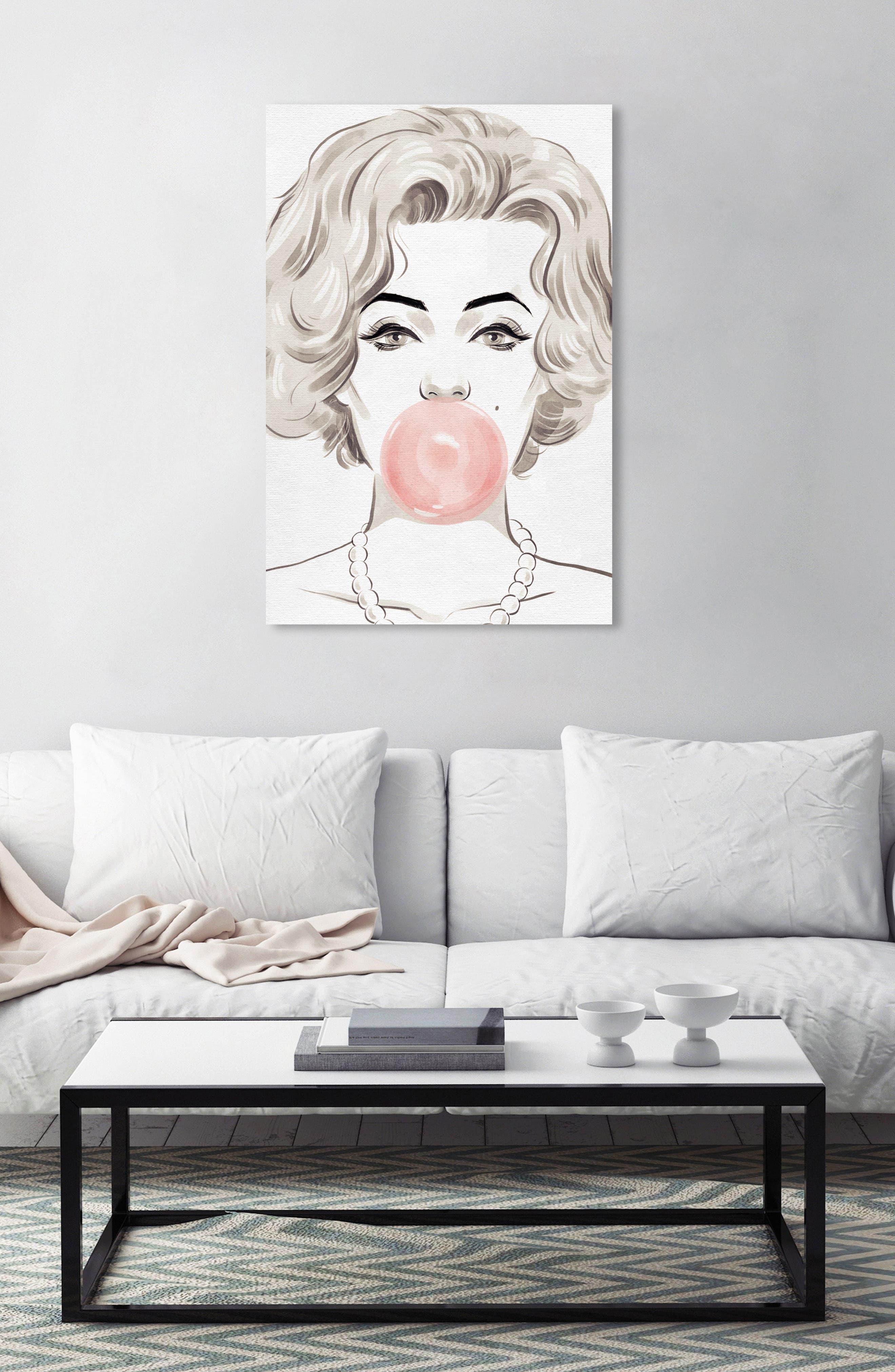 OLIVER GAL, Bubblegum Beauty Canvas Wall Art, Alternate thumbnail 7, color, PINK