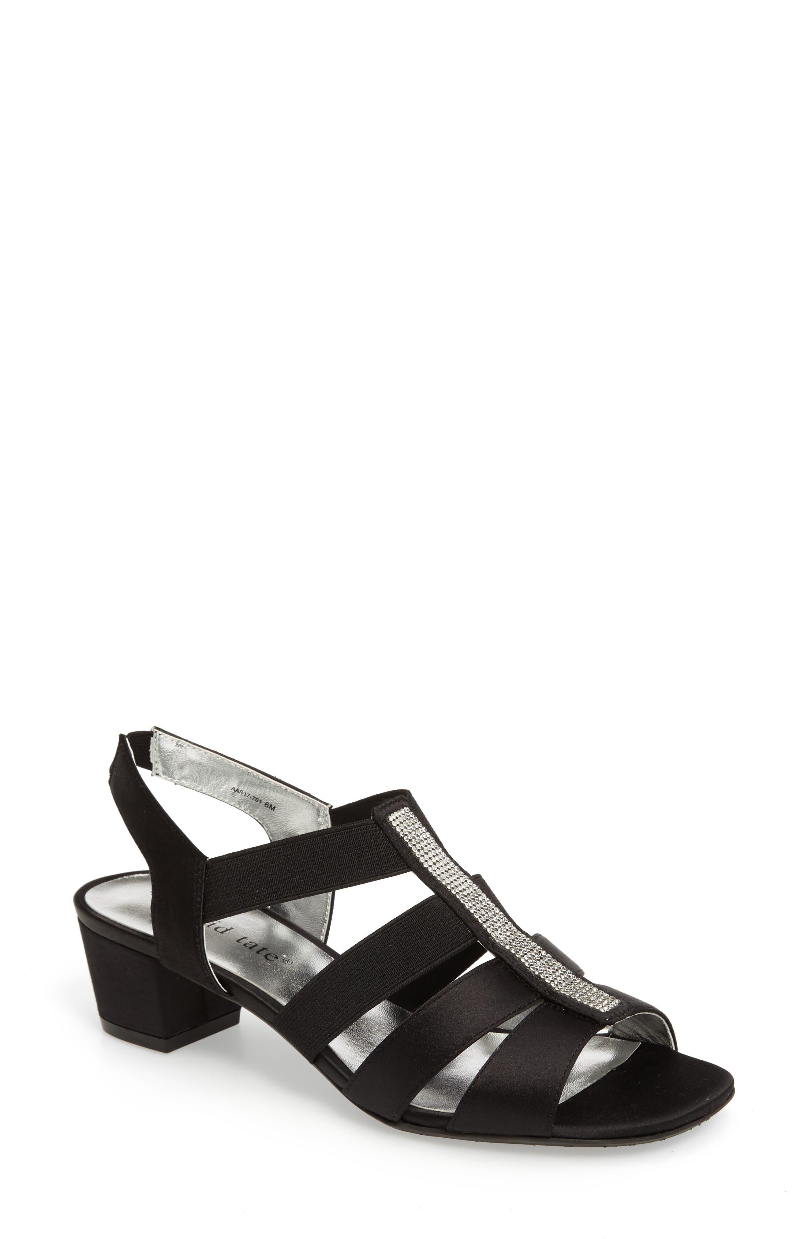 DAVID TATE, Eve Embellished Sandal, Main thumbnail 1, color, BLACK FABRIC