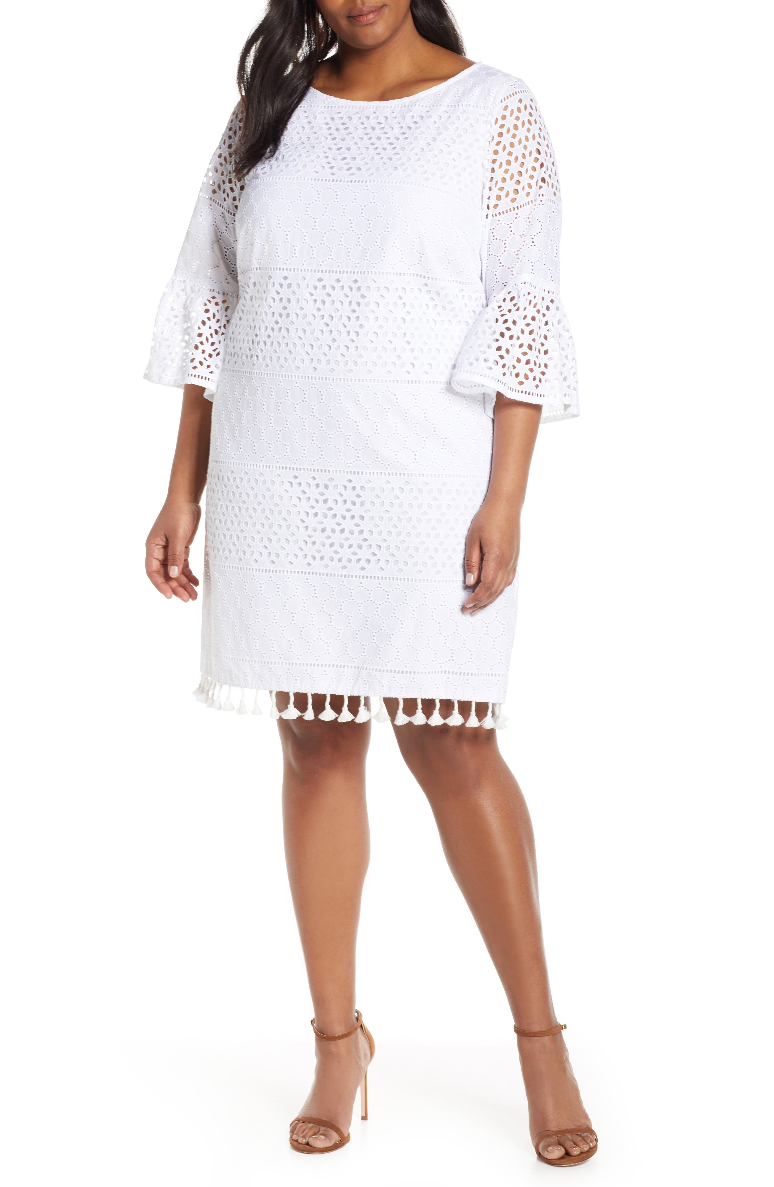Plus Size Vince Camuto Eyelet Bell Sleeve Shift Dress With Tassel Hem, Ivory