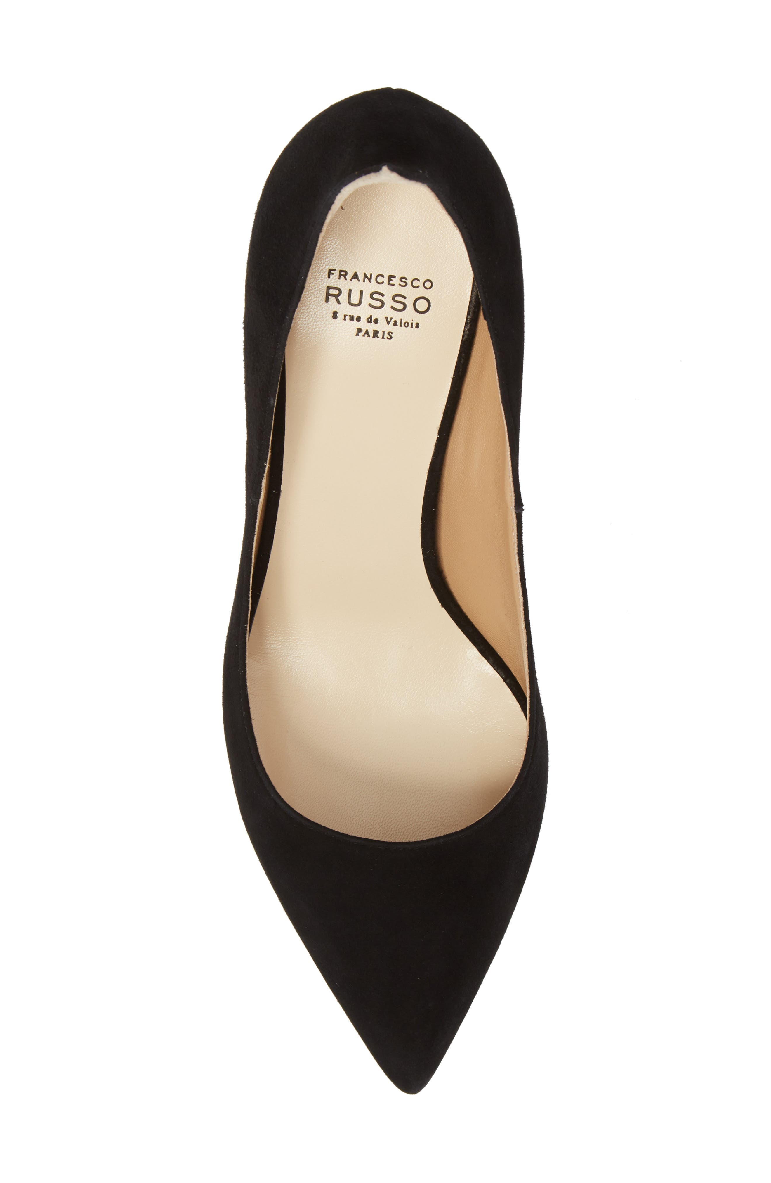 FRANCESCO RUSSO, Flame Pointy Toe Pump, Alternate thumbnail 5, color, BLACK
