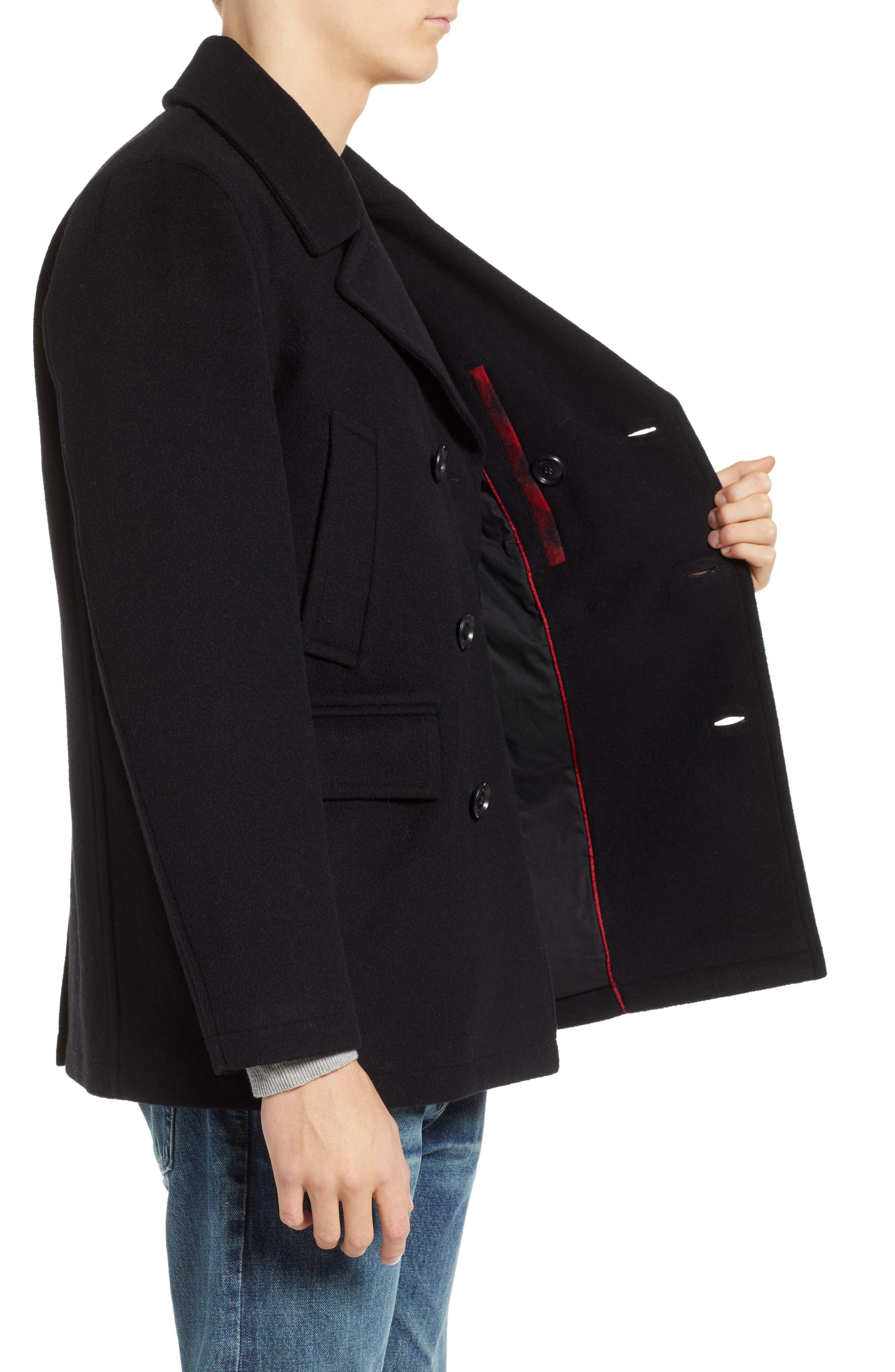 PENDLETON, Maritime Wool Blend Peacoat, Alternate thumbnail 4, color, BLACK