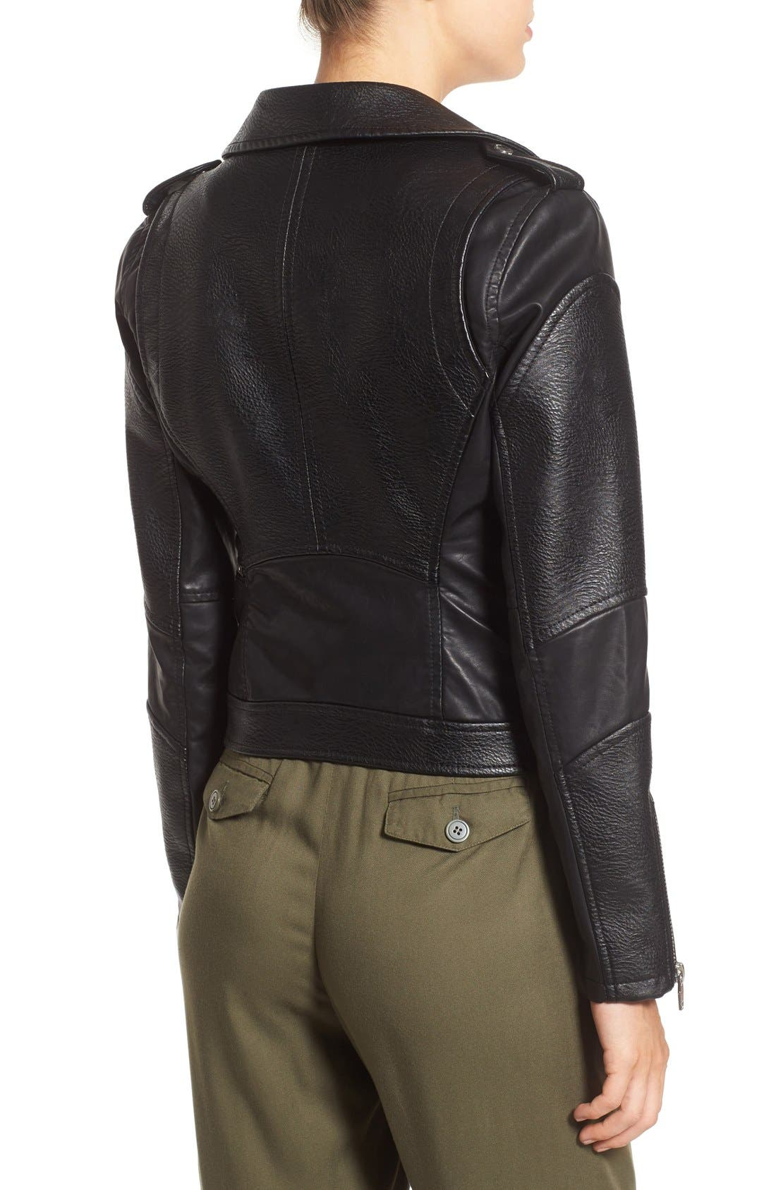 BLANKNYC, 'Easy Rider' Faux Leather Moto Jacket, Alternate thumbnail 7, color, 001
