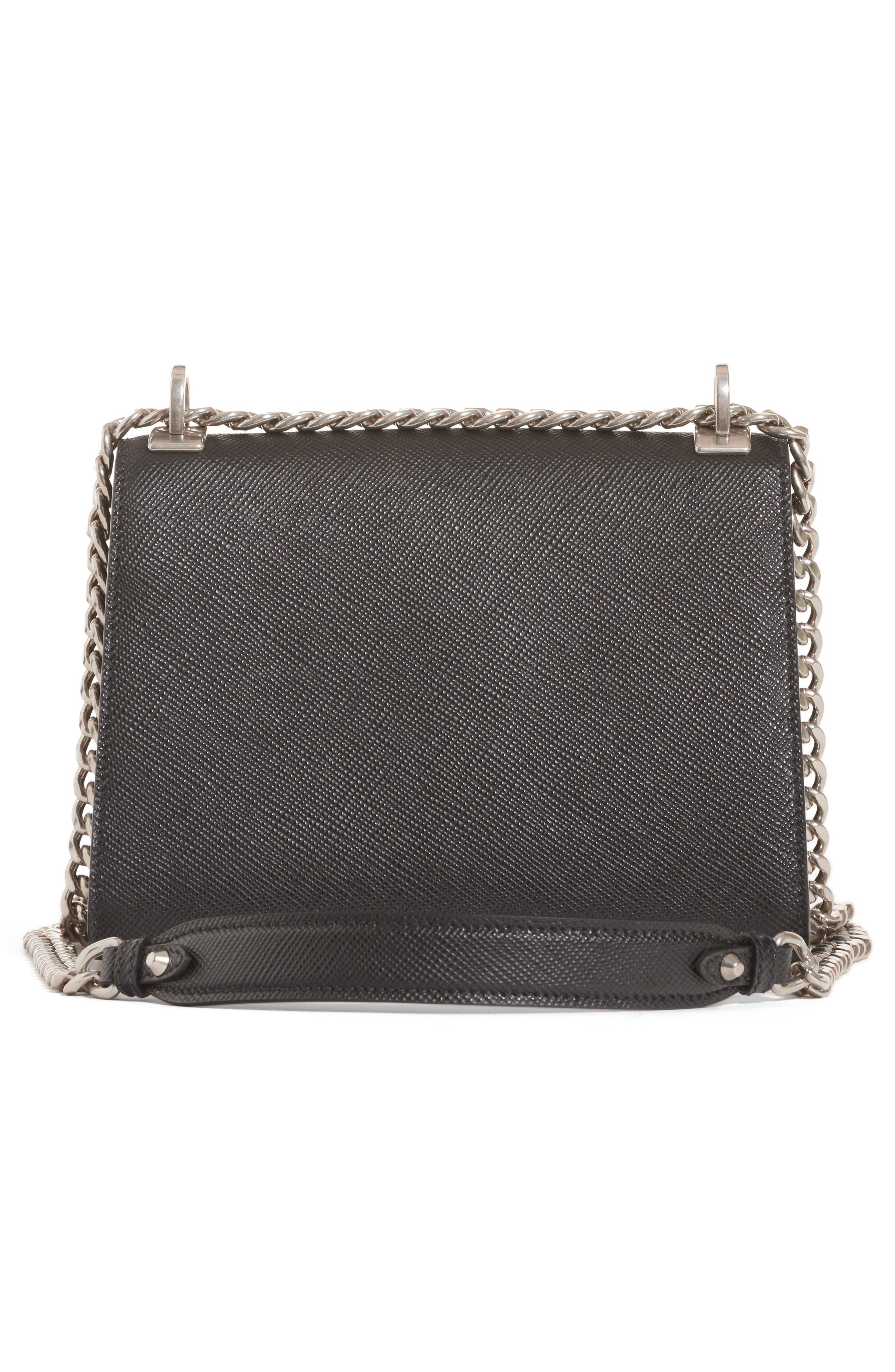 PRADA, Monochrome Saffiano Leather Shoulder Bag, Alternate thumbnail 2, color, NERO