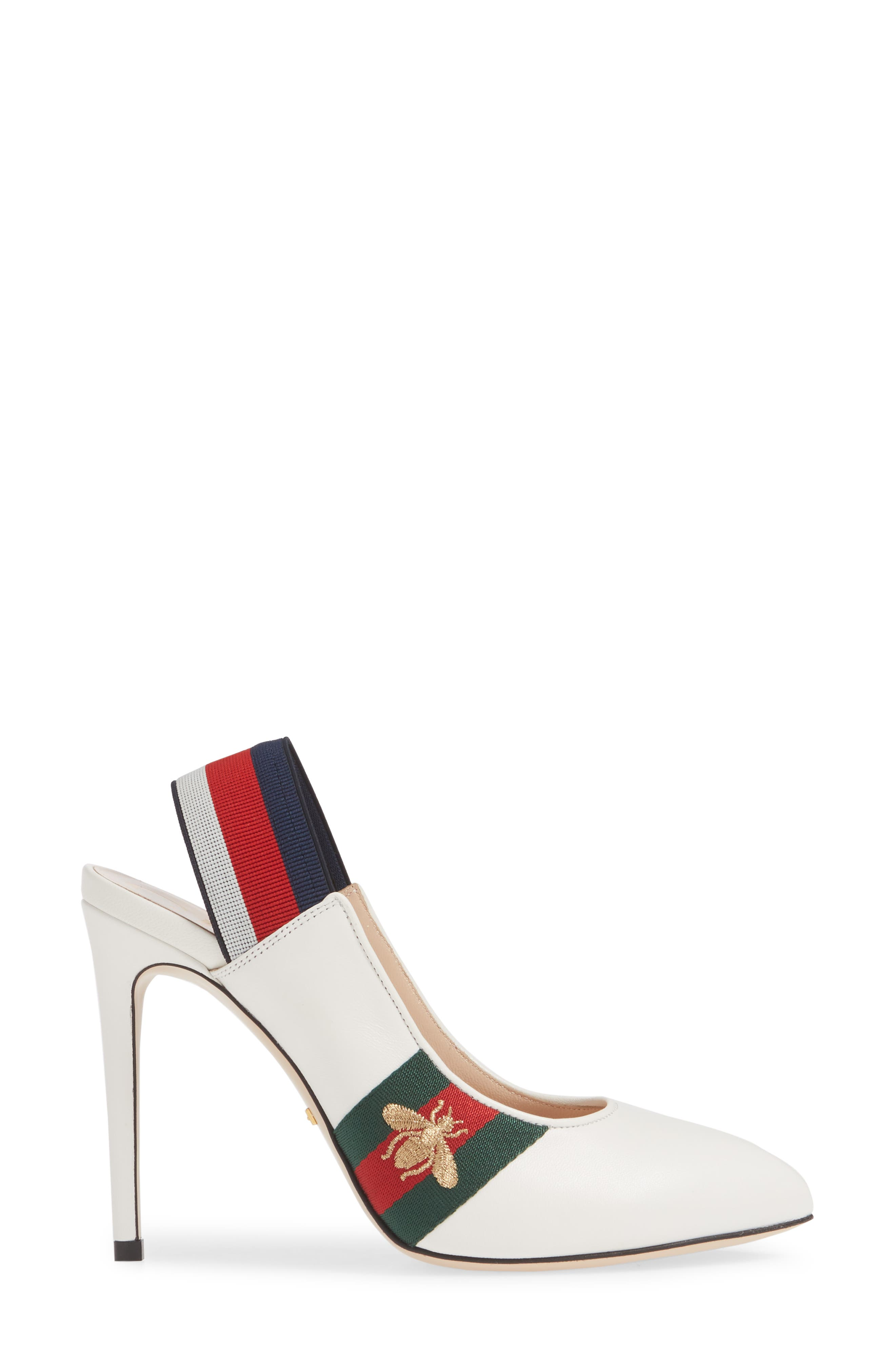 GUCCI, Sylvie Bee Slingback Pump, Alternate thumbnail 3, color, WHITE/ RED