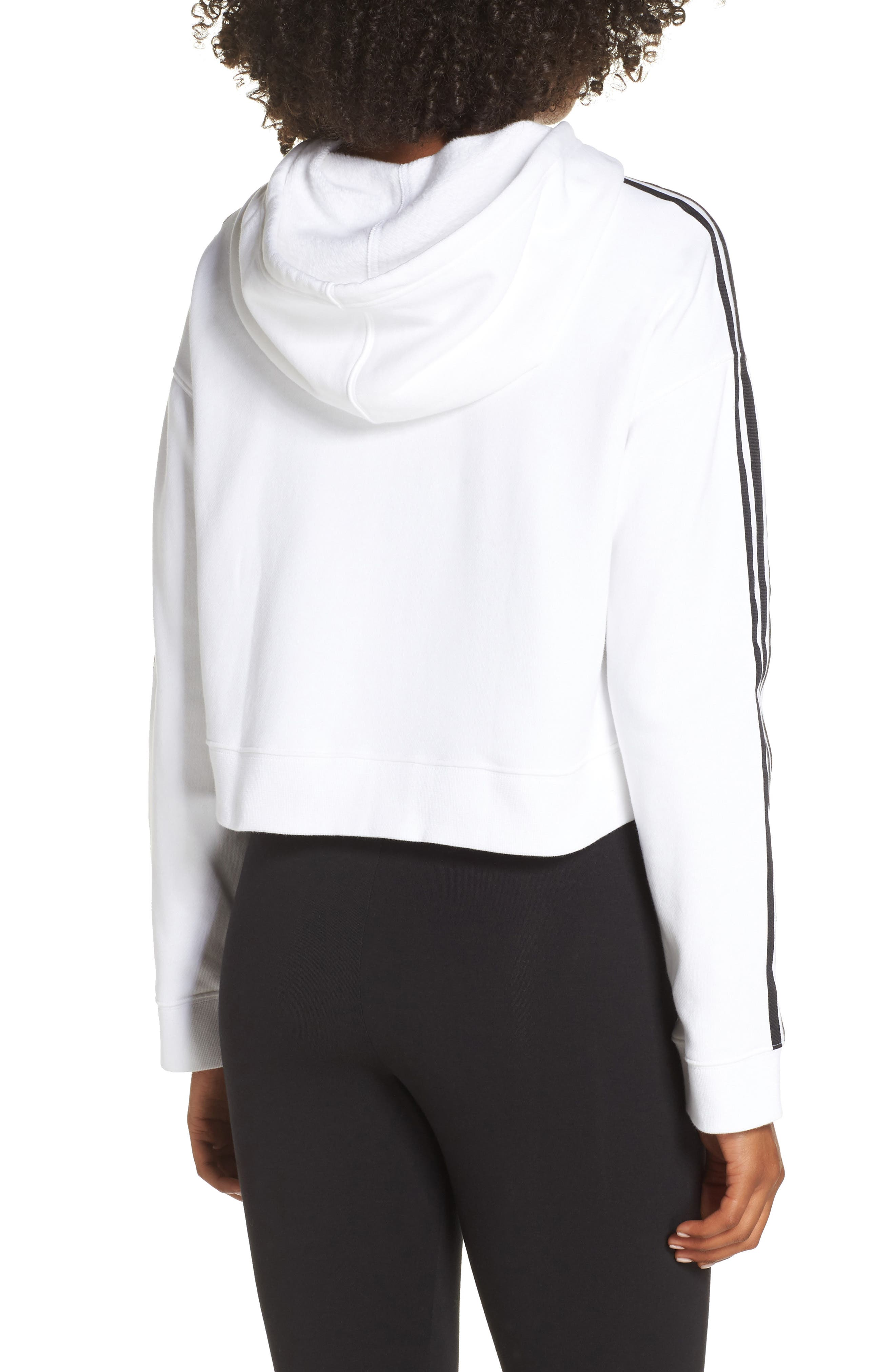 ADIDAS ORIGINALS, Cropped Hoodie, Alternate thumbnail 2, color, WHITE