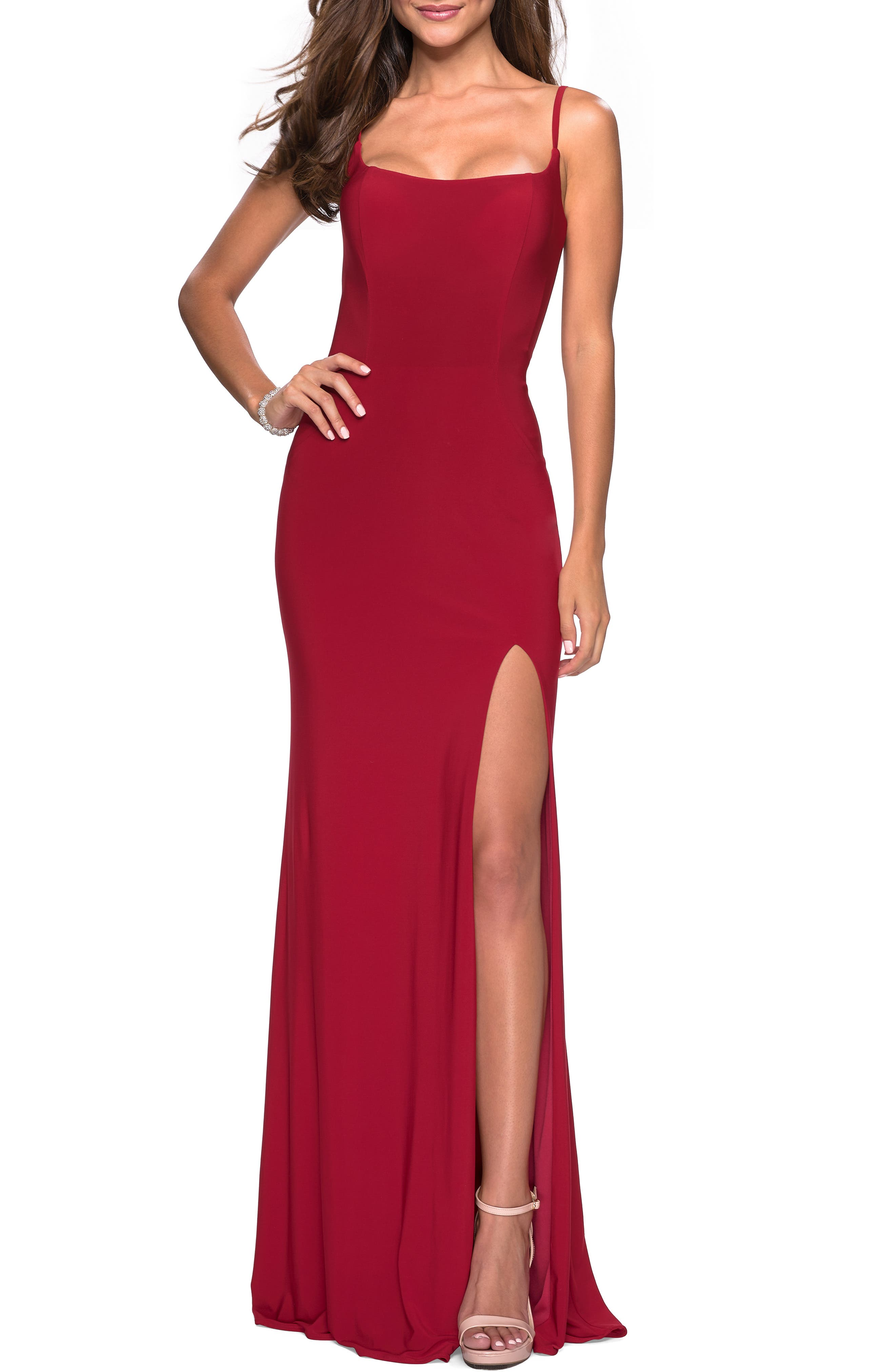 La Femme Strappy Back Jersey Evening Dress, Red