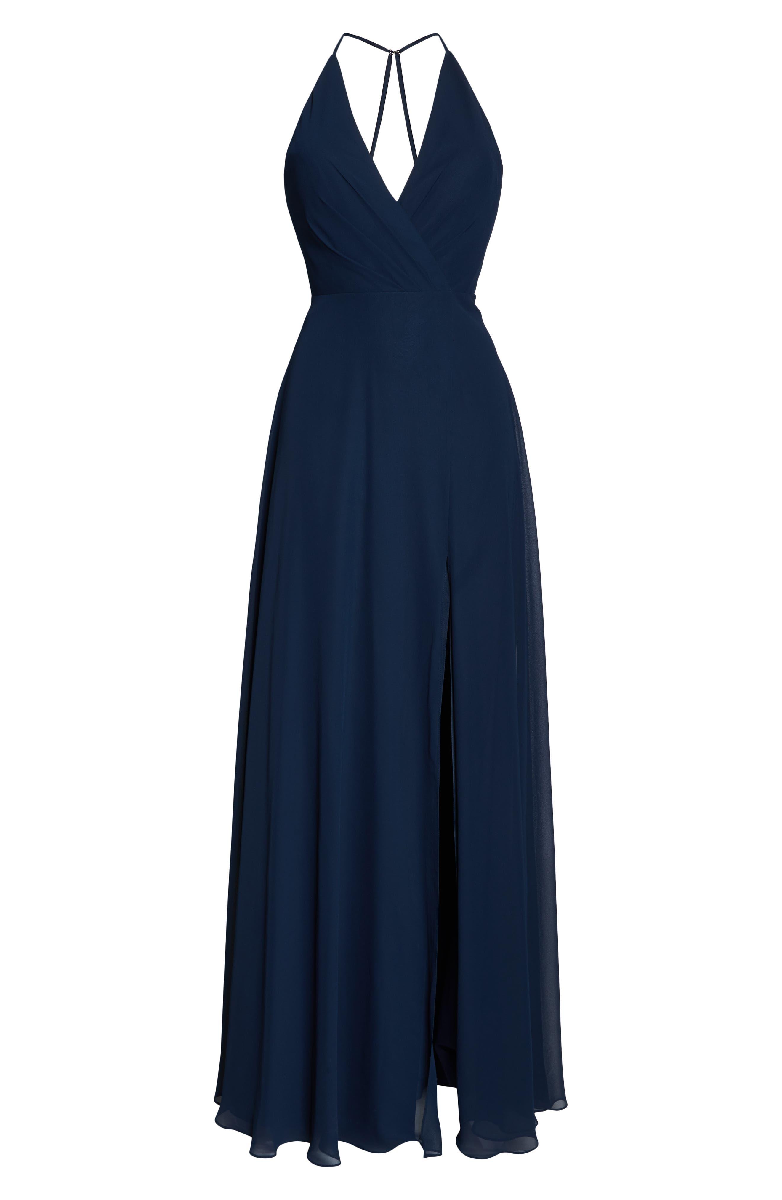 JENNY YOO, Bryce Surplice V-Neck Chiffon Evening Dress, Alternate thumbnail 7, color, NAVY