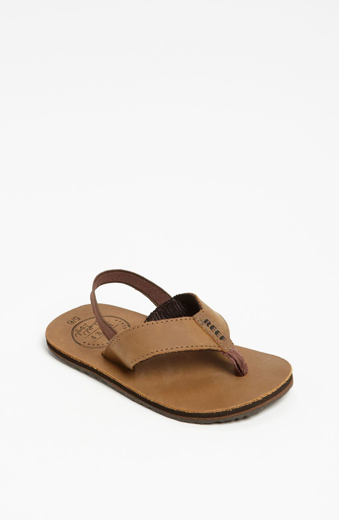REEF, 'Grom' Leather Flip-Flop, Main thumbnail 1, color, BRONZE BROWN