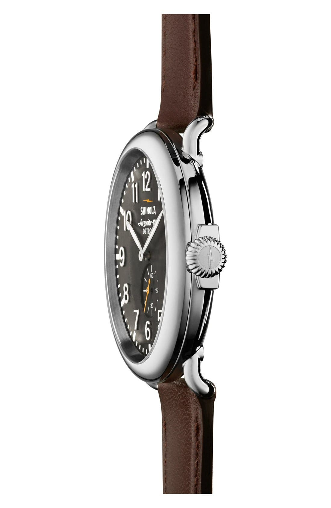 SHINOLA, 'The Runwell' Leather Strap Watch, 47mm, Alternate thumbnail 4, color, BROWN/ BLACK