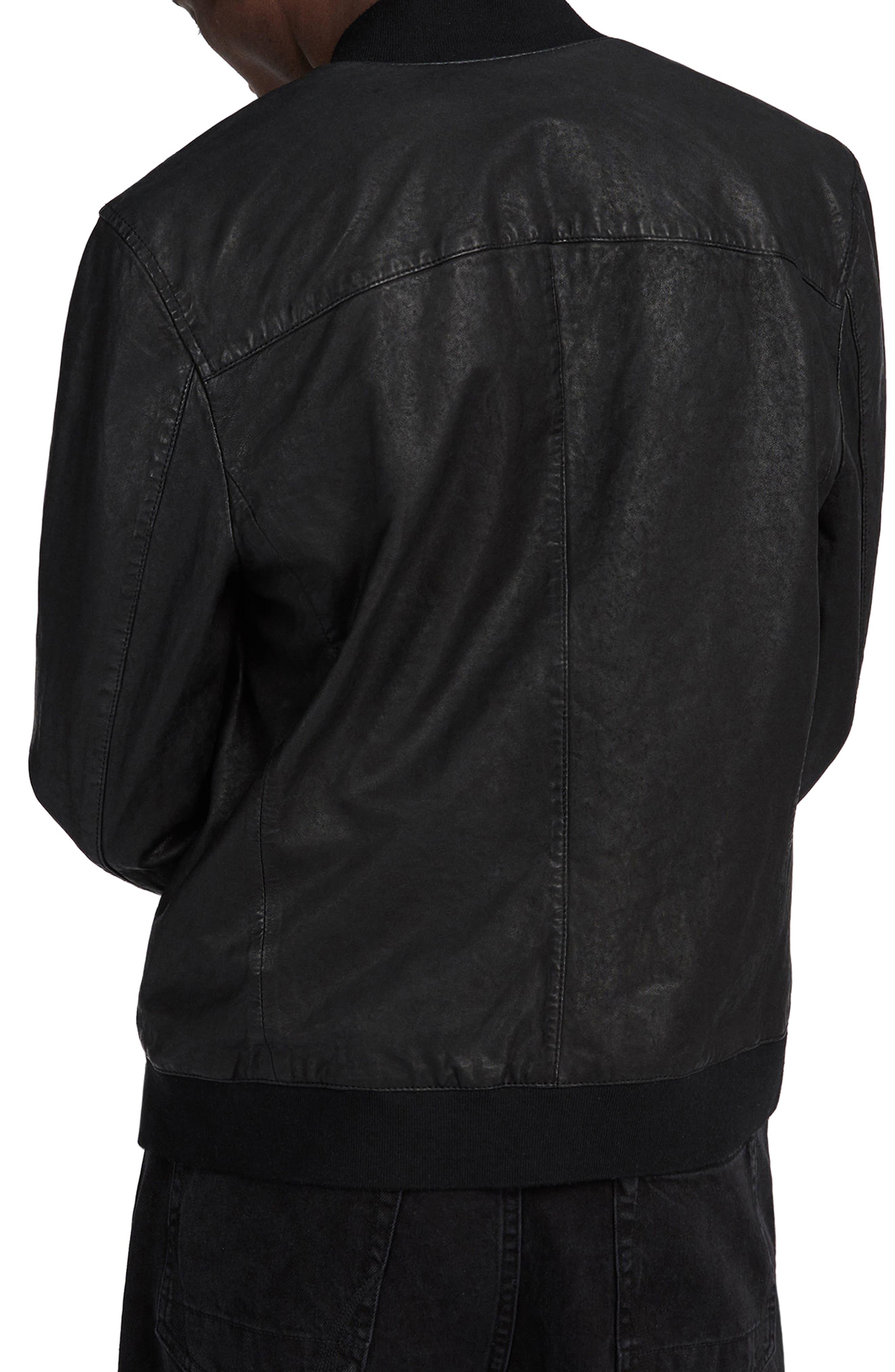 ALLSAINTS, Kino Leather Bomber Jacket, Alternate thumbnail 2, color, BLACK