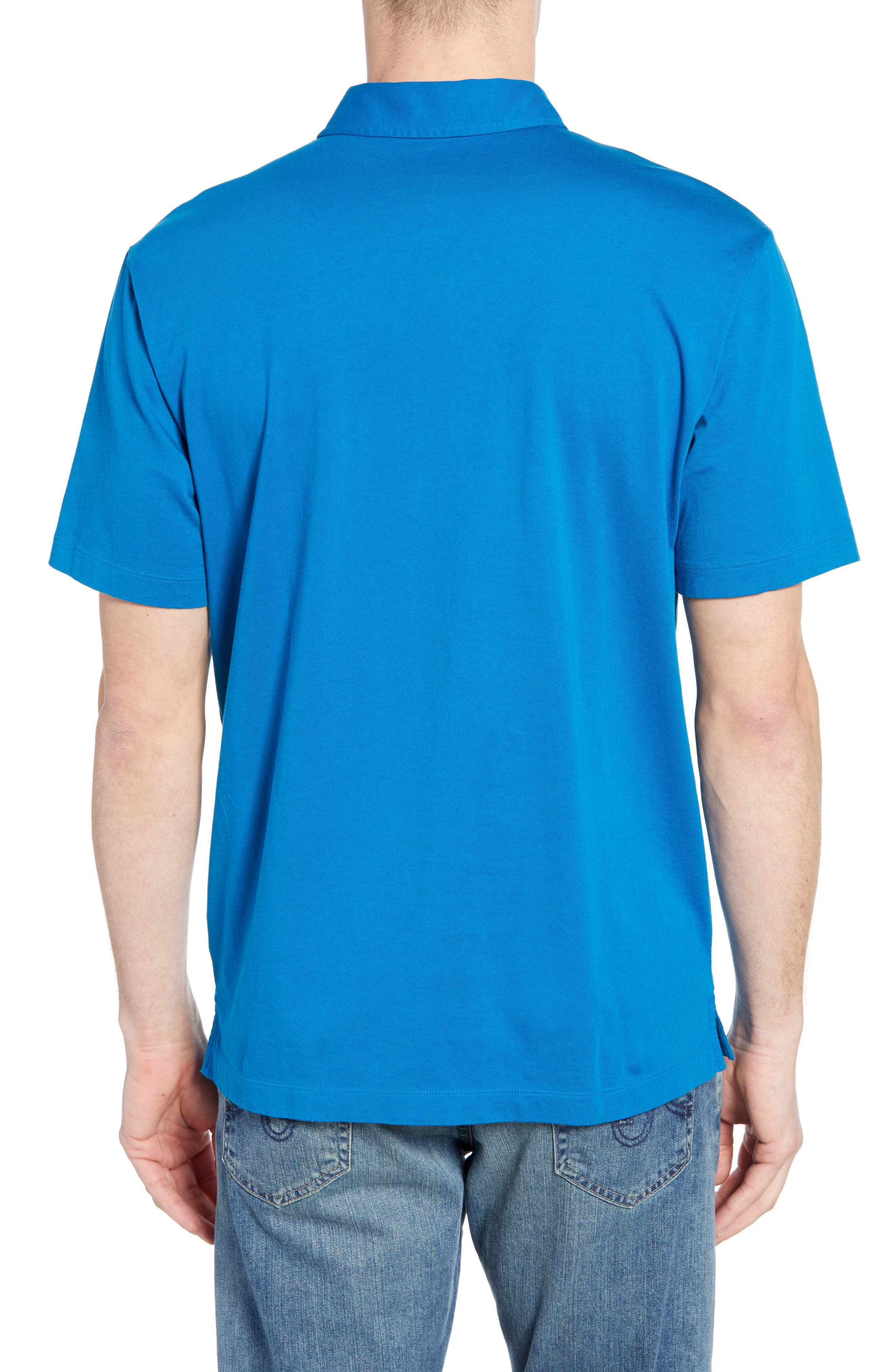 PATAGONIA, 'Trout Fitz Roy' Organic Cotton Polo, Alternate thumbnail 2, color, BALKAN BLUE