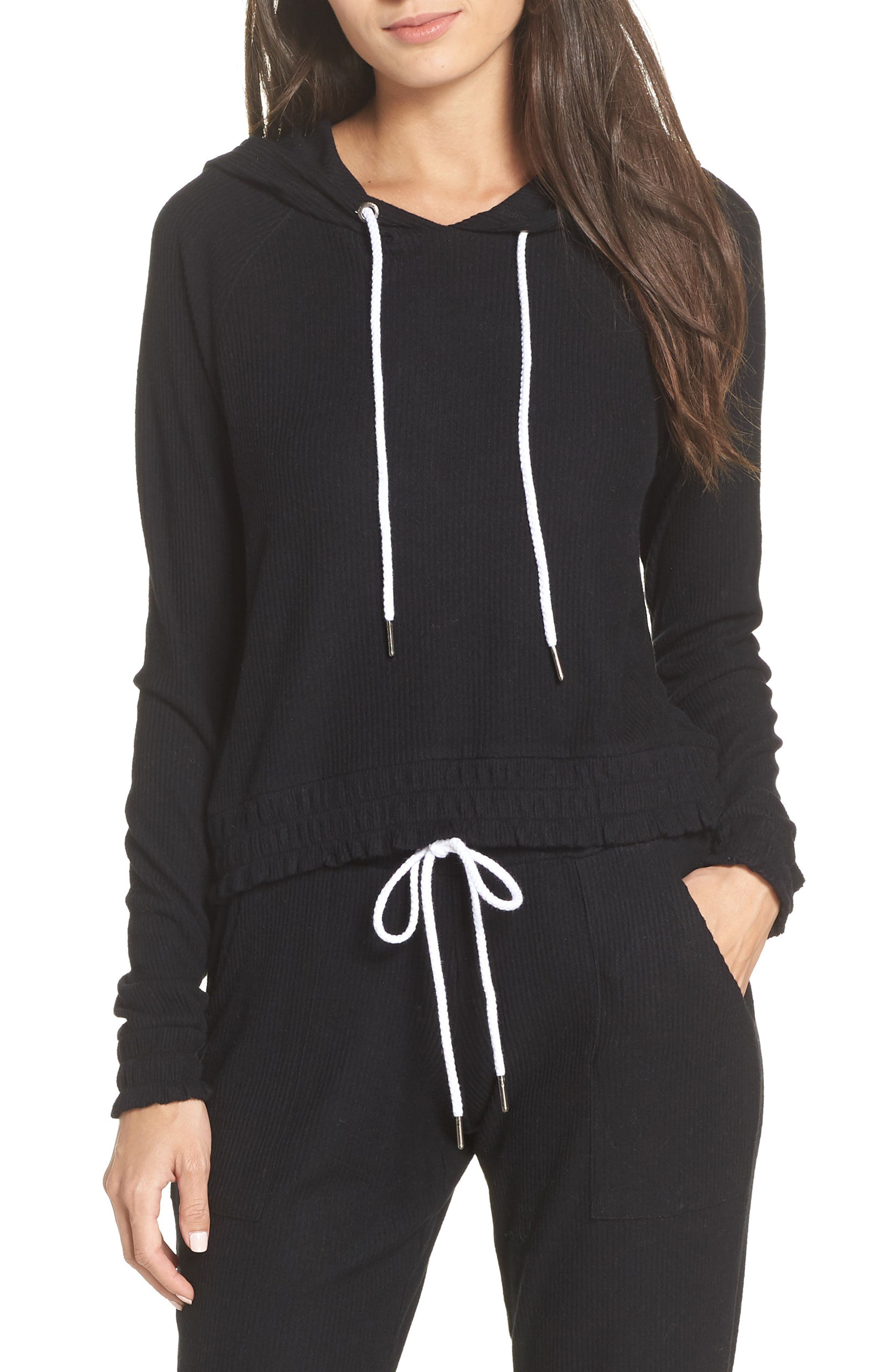 MAKE + MODEL Cozy Up Cropped Ribbed Hoodie, Main, color, 001