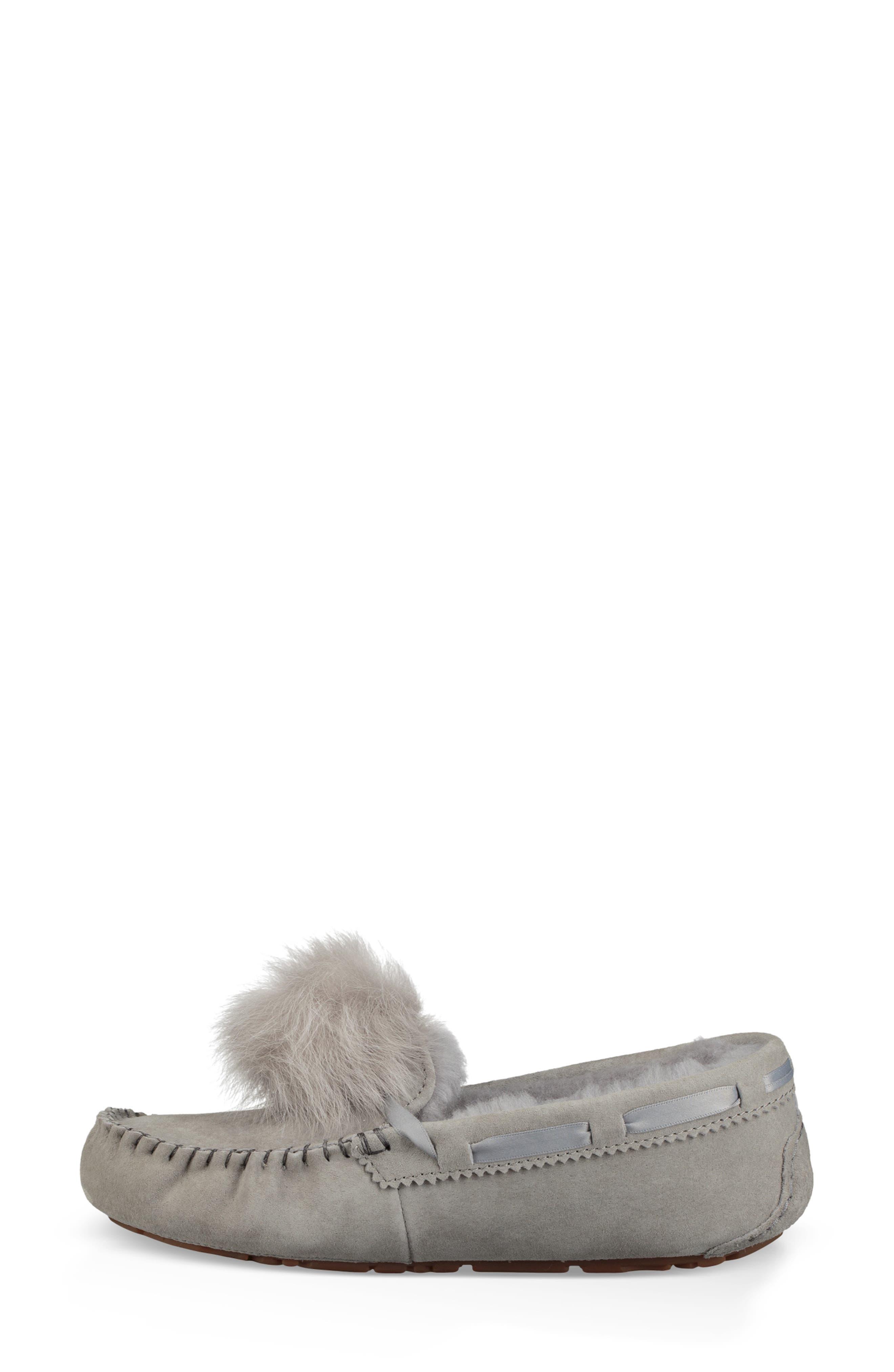 UGG<SUP>®</SUP>, Dakota Water Resistant Genuine Shearling Pompom Slipper, Alternate thumbnail 6, color, SEAL