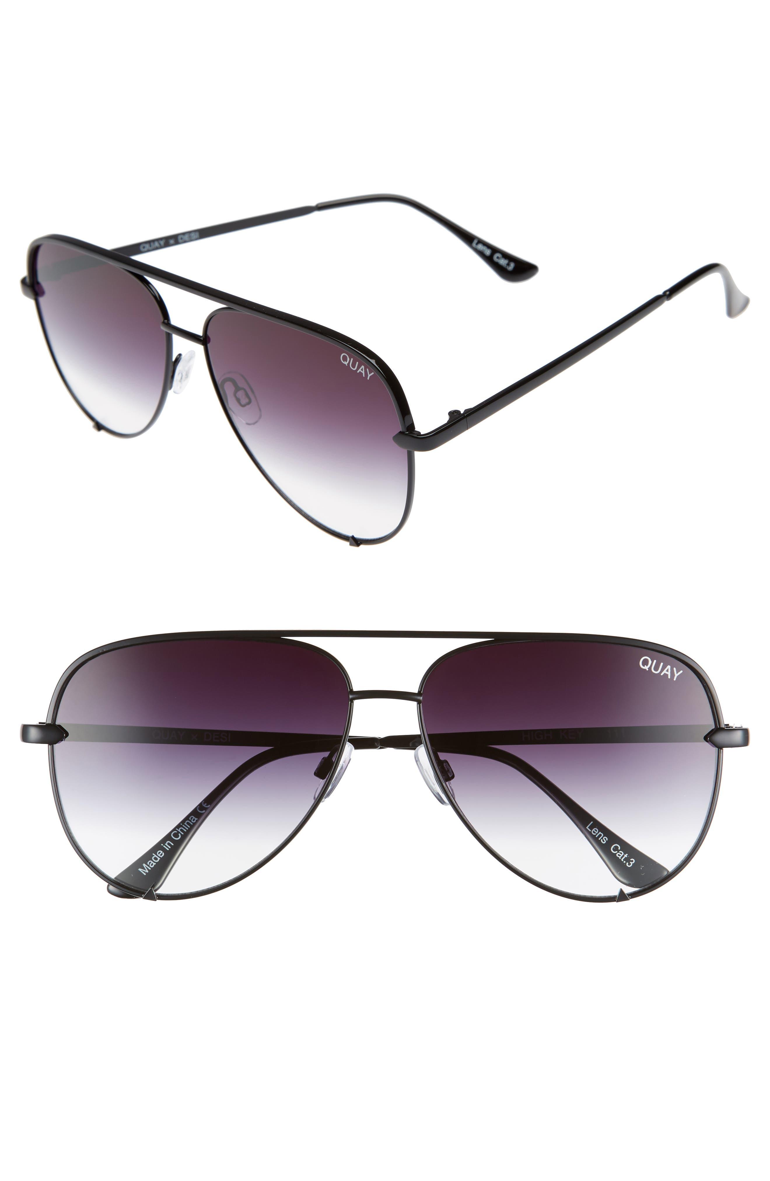 QUAY AUSTRALIA x Desi Perkins High Key 62mm Aviator Sunglasses, Main, color, BLACK FADE TO CLEAR