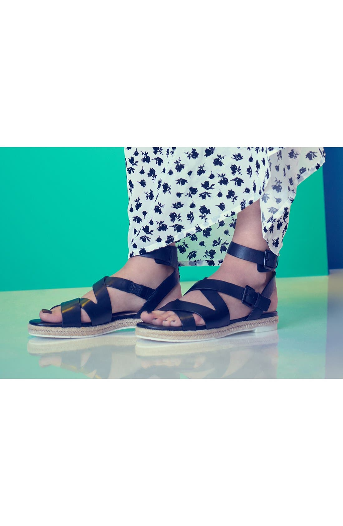 MARC FISHER LTD, 'Alysse' Flat Sandal, Alternate thumbnail 5, color, 001