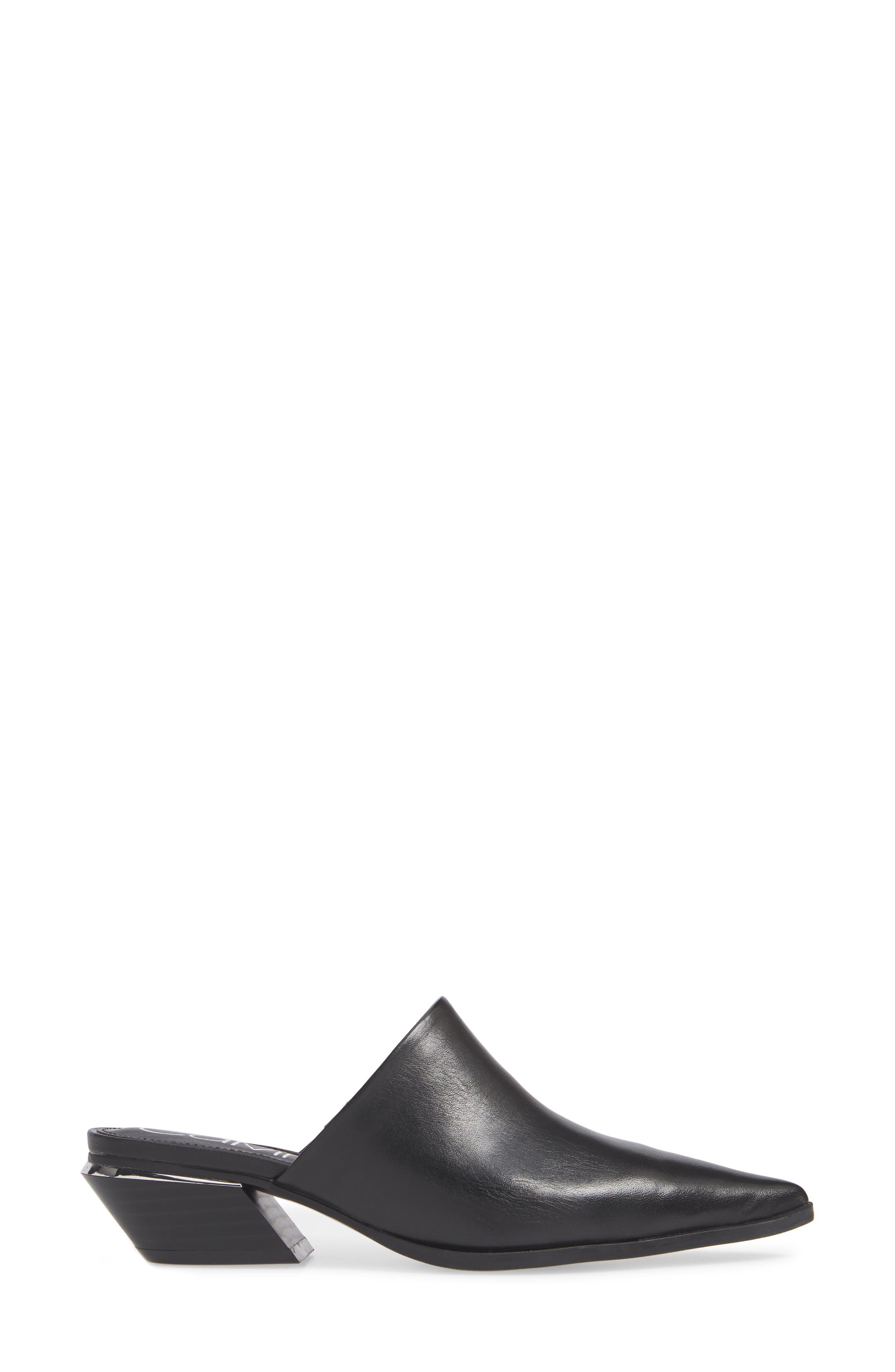 CALVIN KLEIN, Nafese Mule, Alternate thumbnail 3, color, BLACK LEATHER