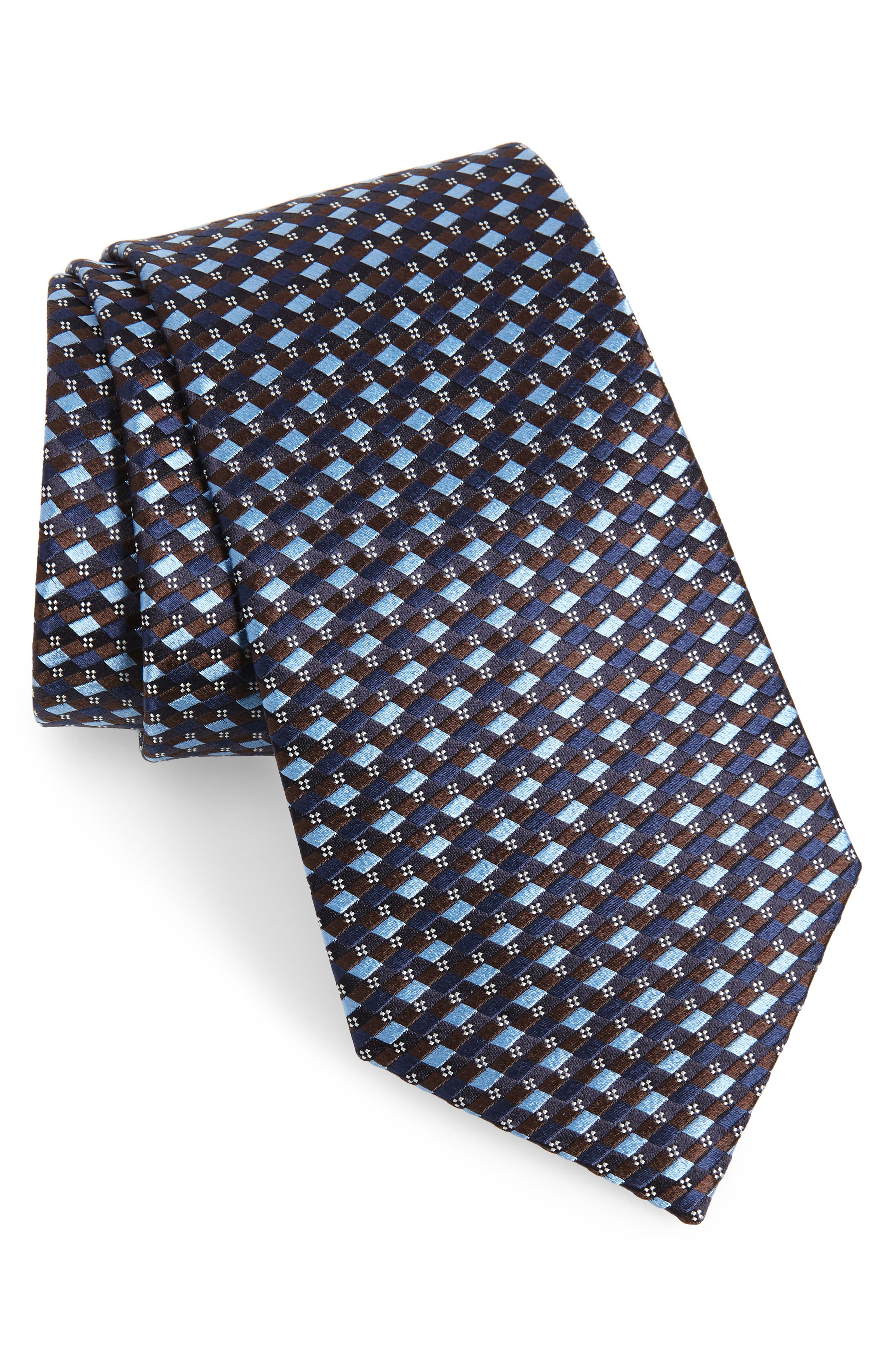 ERMENEGILDO ZEGNA, Geometric Silk Tie, Main thumbnail 1, color, BROWN