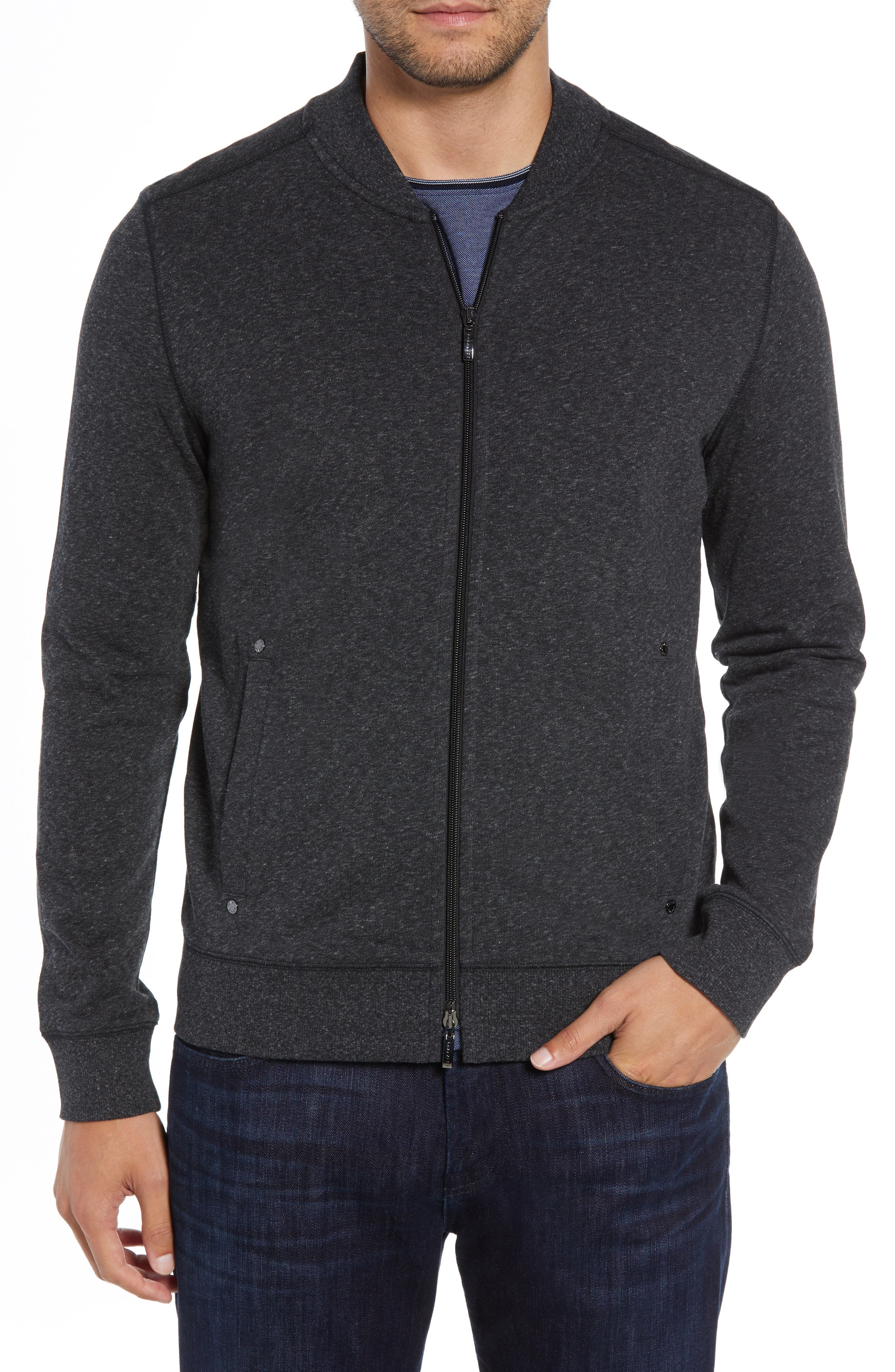 ROBERT BARAKETT, Front Zip Knit Jacket, Alternate thumbnail 4, color, BLACK