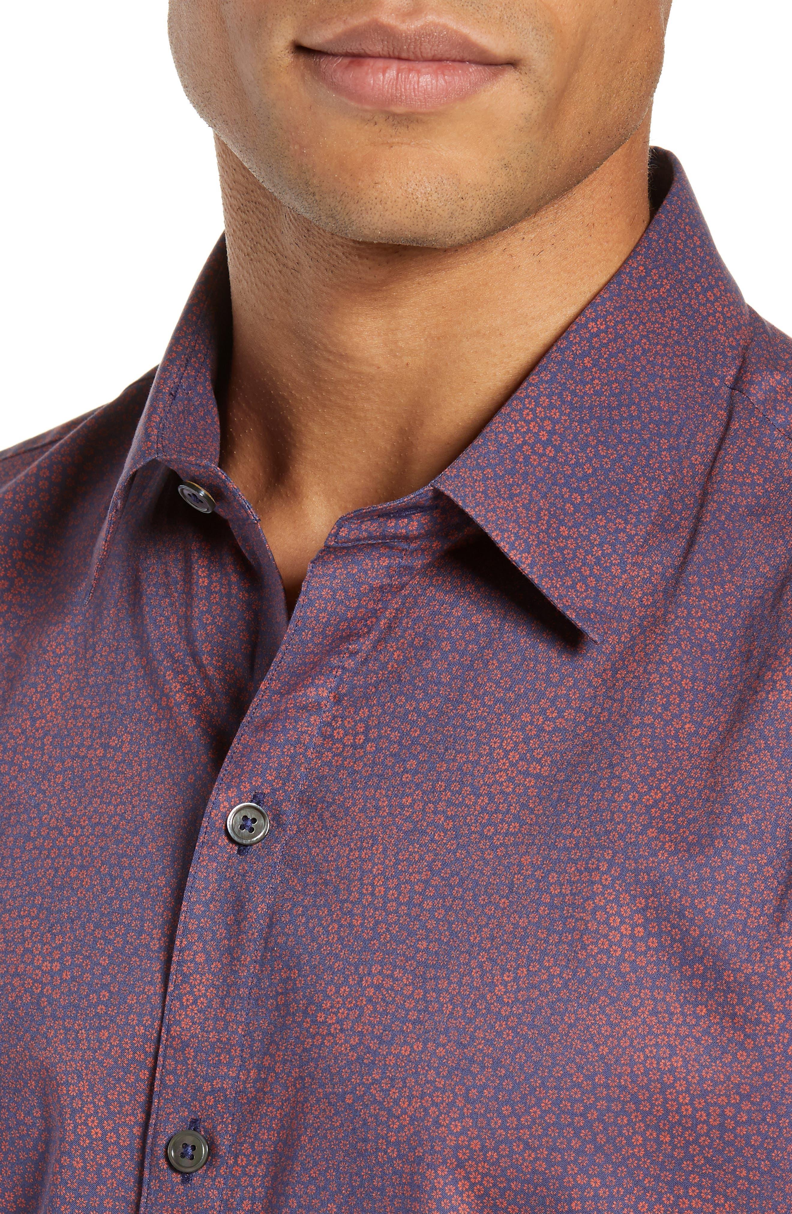 ZACHARY PRELL, Maryna Regular Fit Floral Print Sport Shirt, Alternate thumbnail 2, color, ORANGE