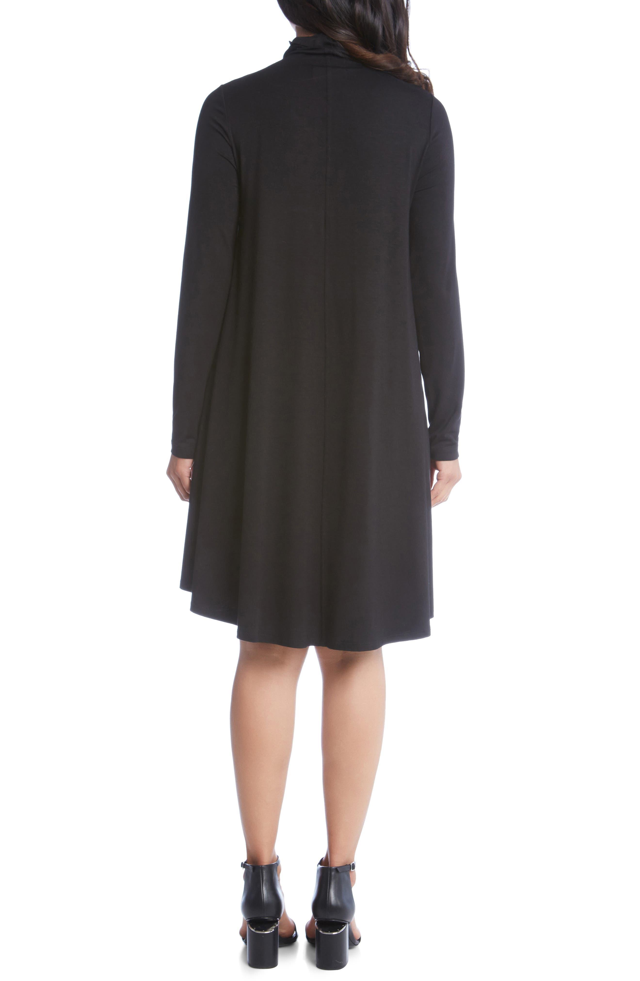 KAREN KANE, Maggie Turtleneck Trapeze Dress, Alternate thumbnail 2, color, BLACK